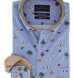 Portofino overhemd blauw dessin
