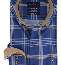 Portofino overhemd blauwe ruit