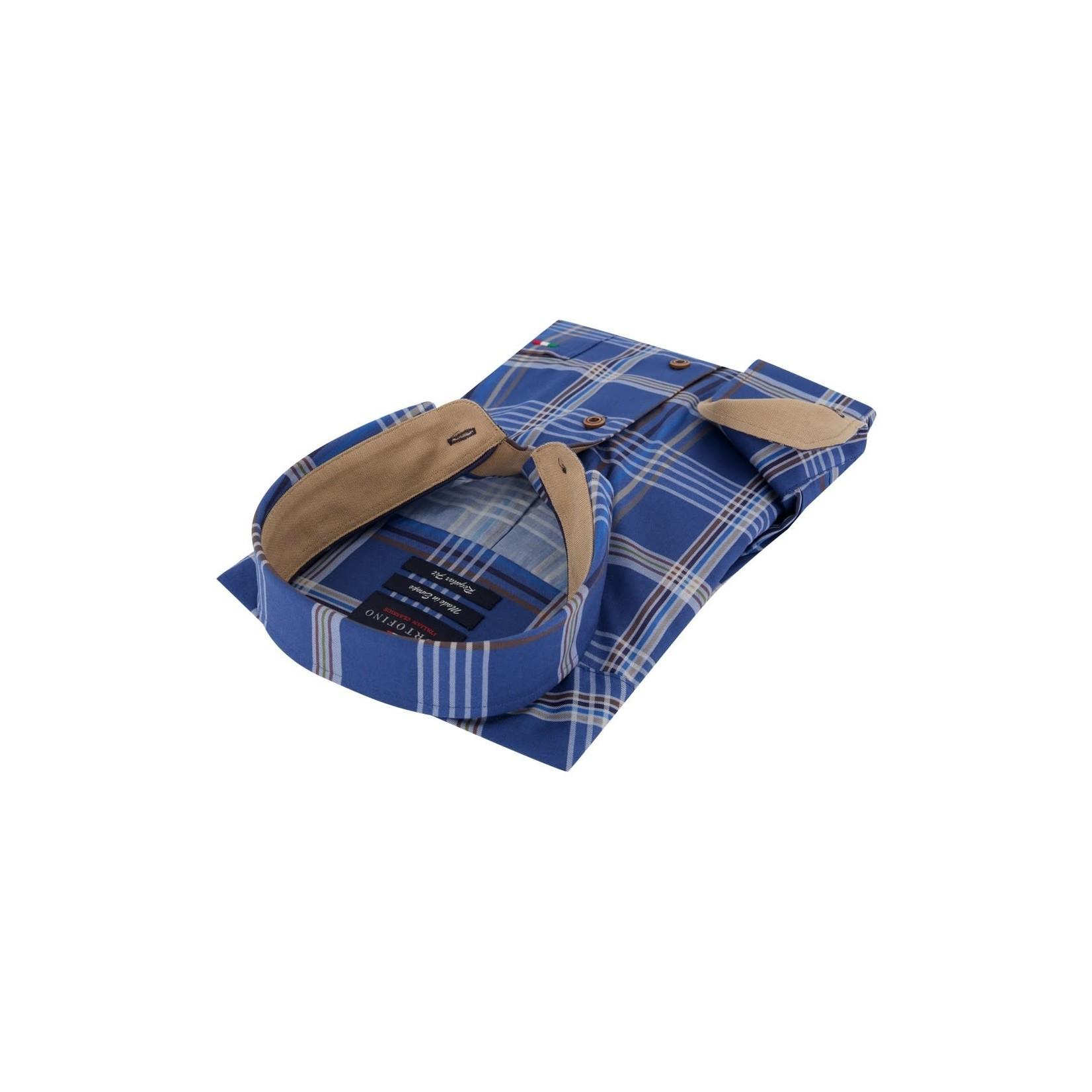 Portofino regular fit overhemd blauwe ruit