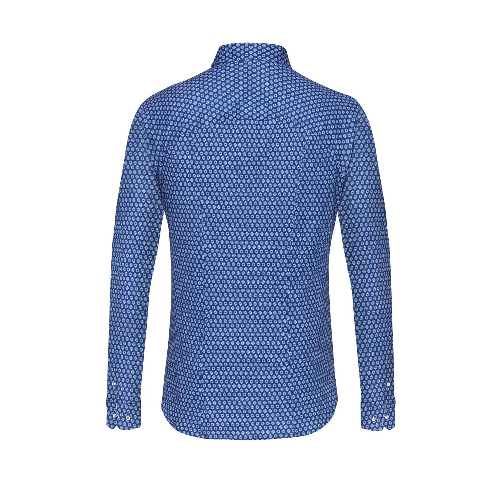 Desoto jersey overhemd cobalt blauw print