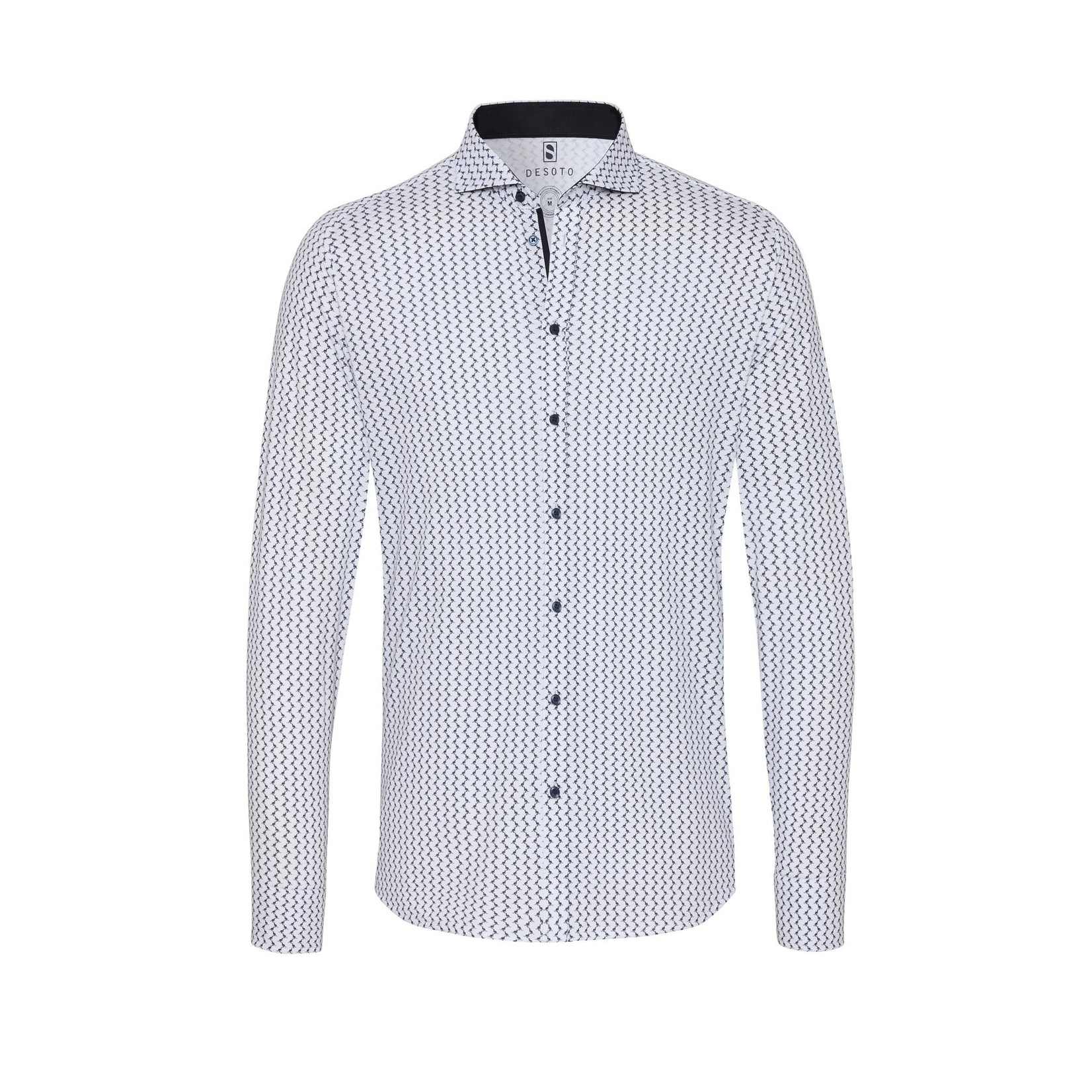 Desoto jersey overhemd wit marine print