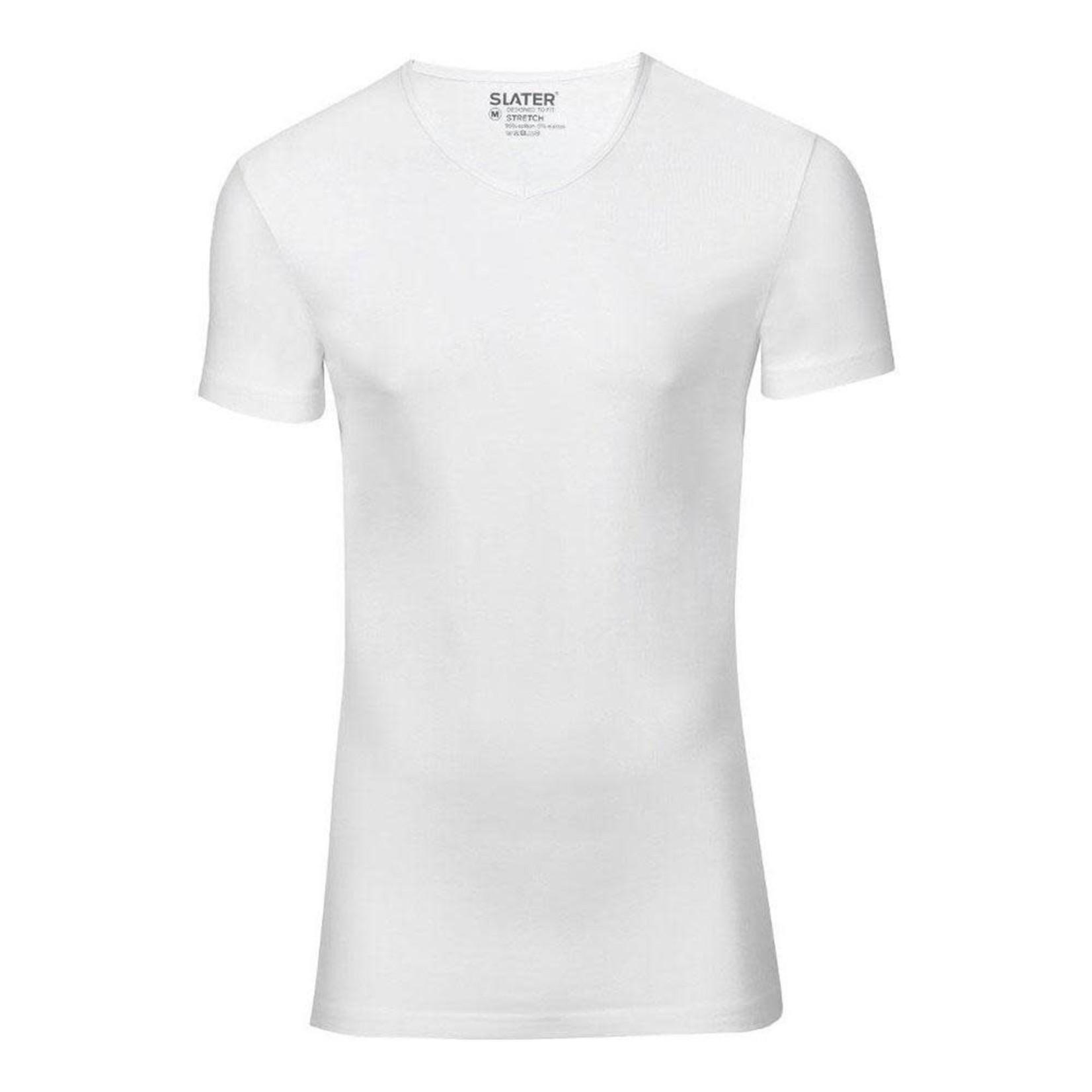 Slater Stretch 2-pack v-hals t-shirt wit