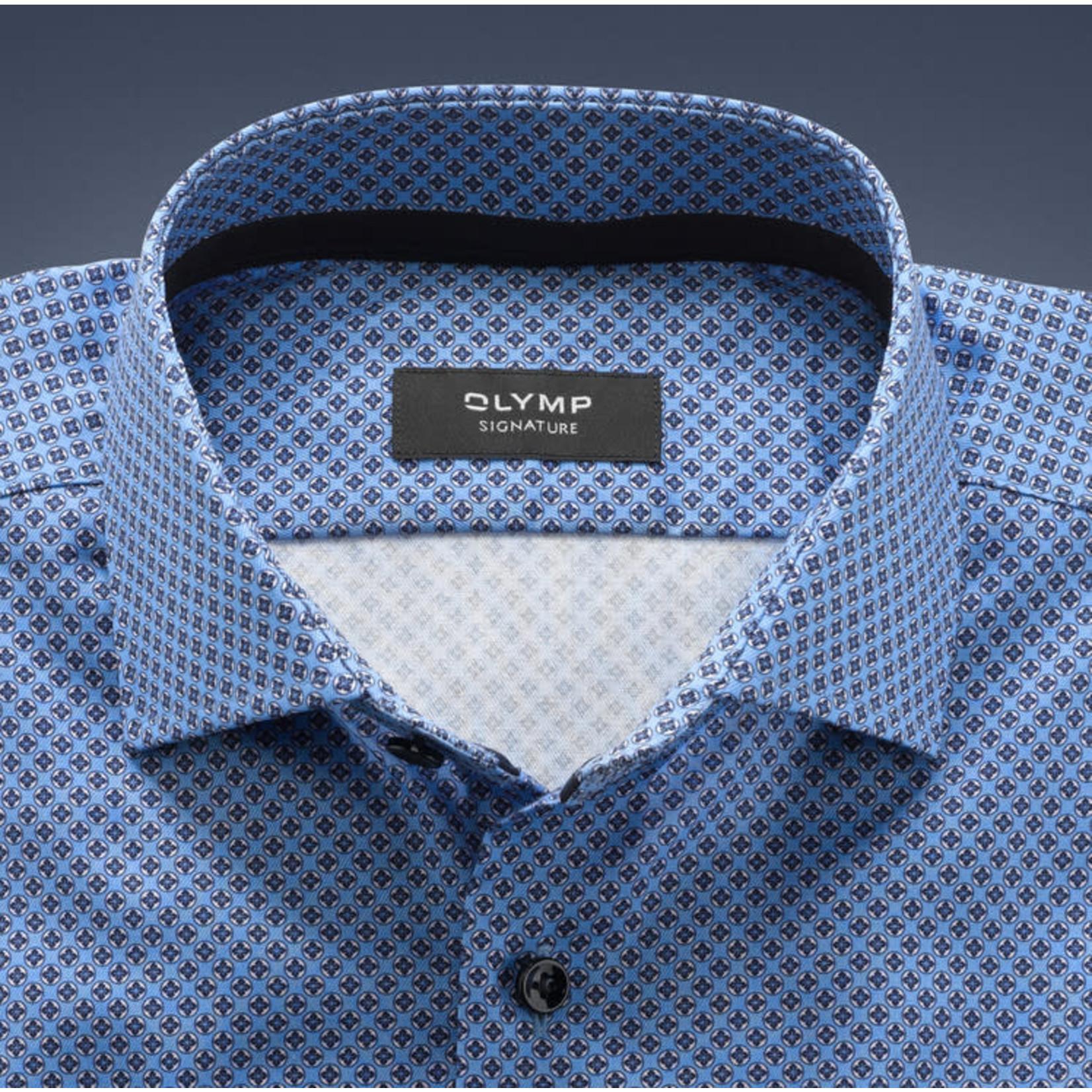 Olymp Signature tailored fit overhemd blauw print