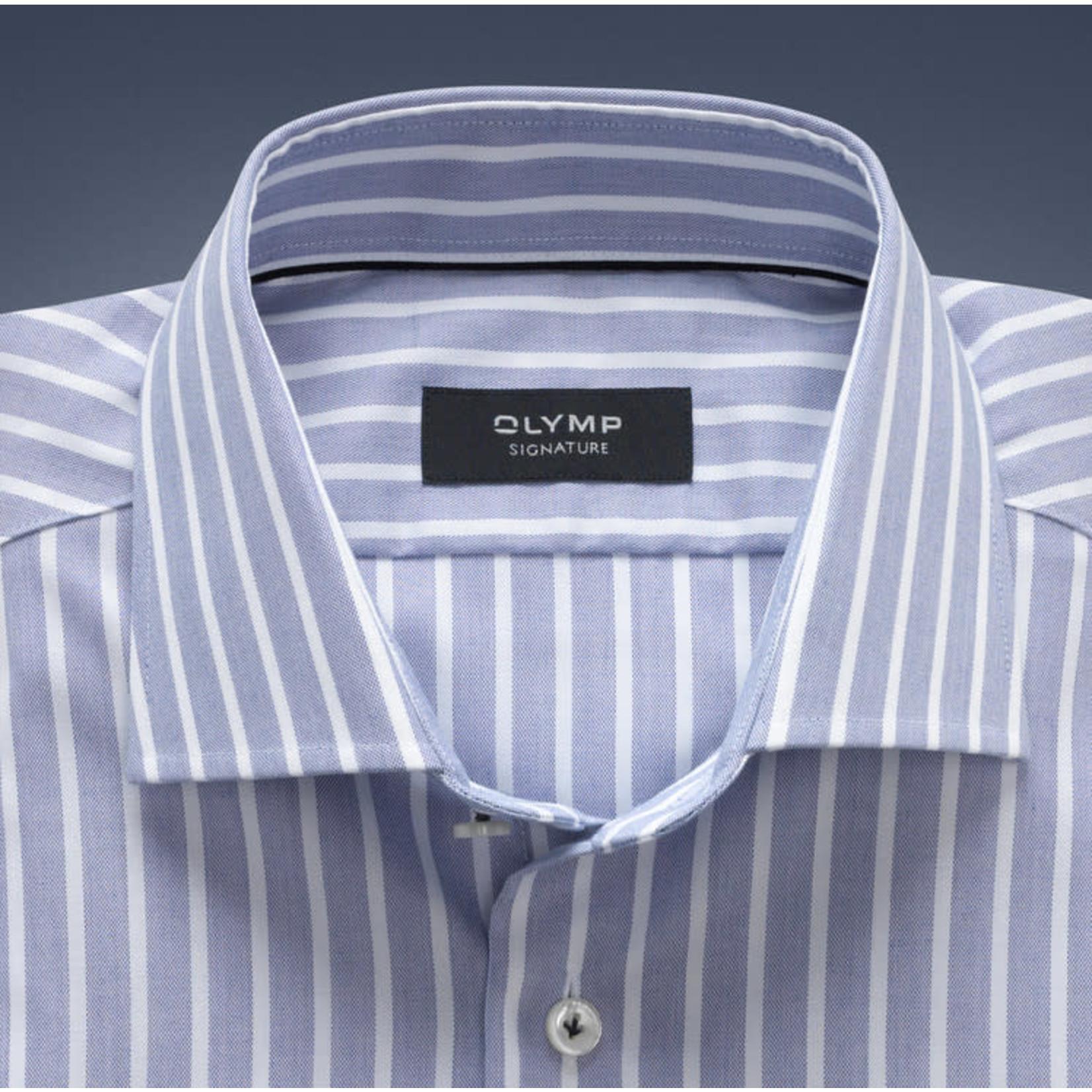 Olymp Signature tailored fit overhemd blauw streep