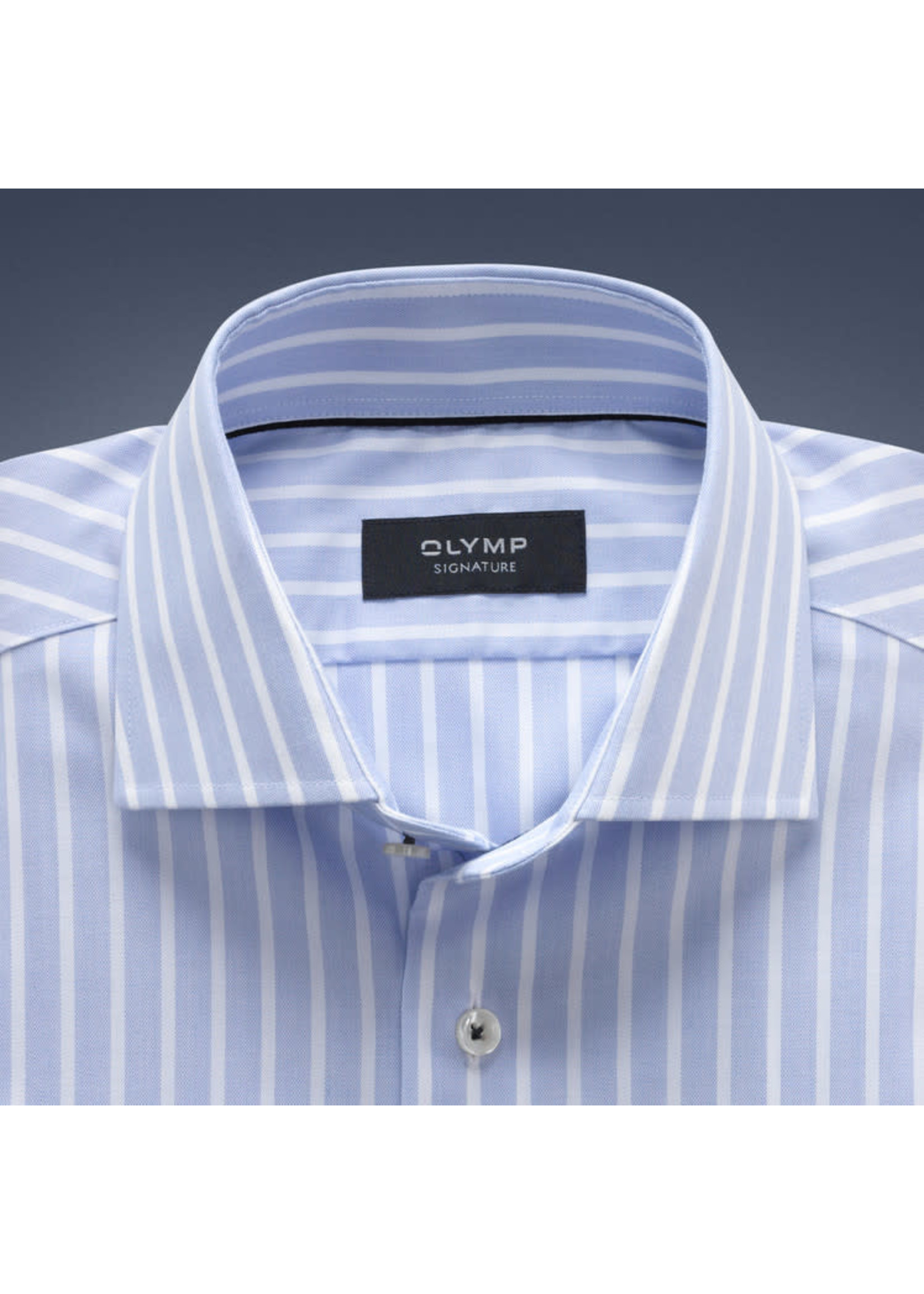 Olymp Signature tailored fit overhemd lichtblauw streep