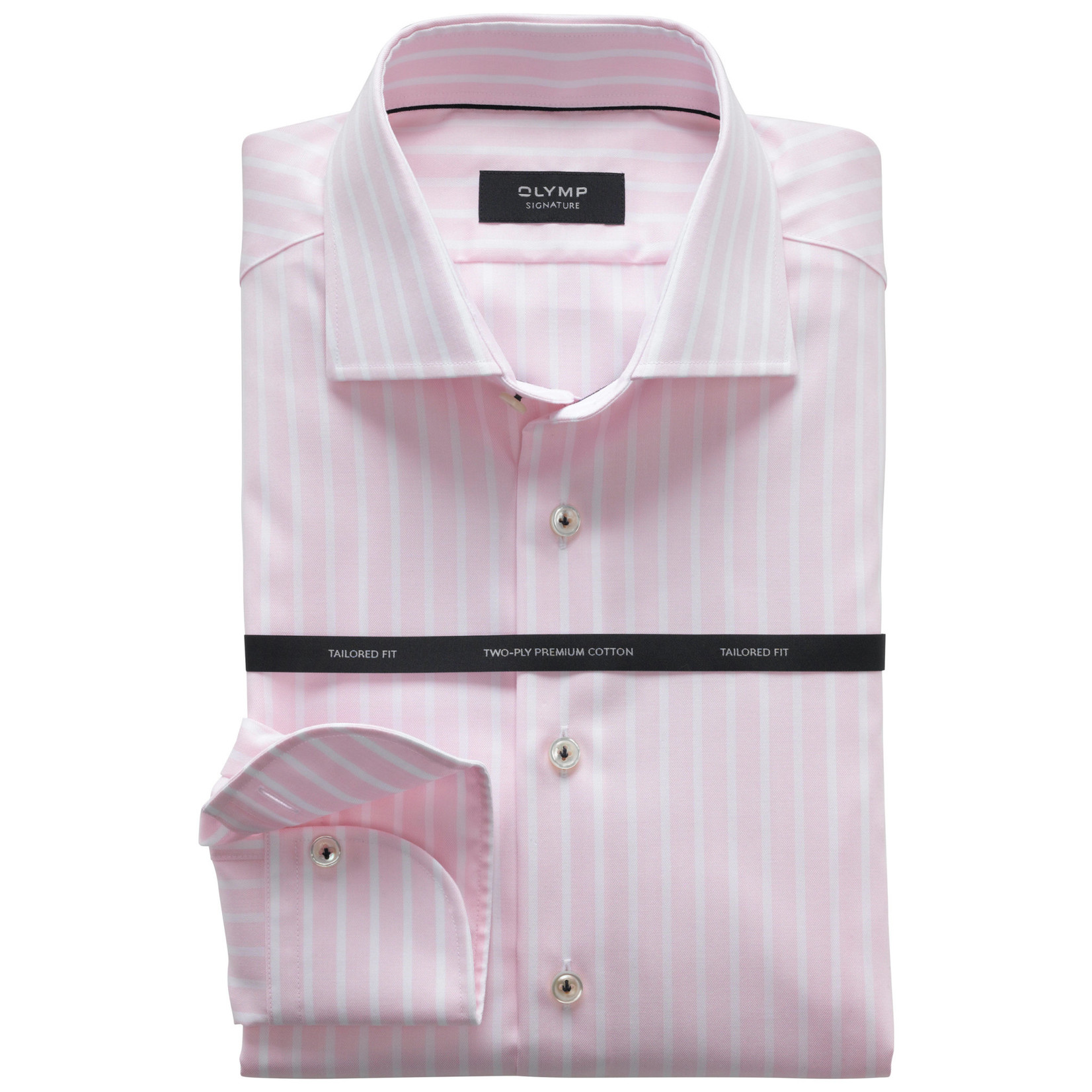 Olymp Signature tailored fit overhemd roze streep