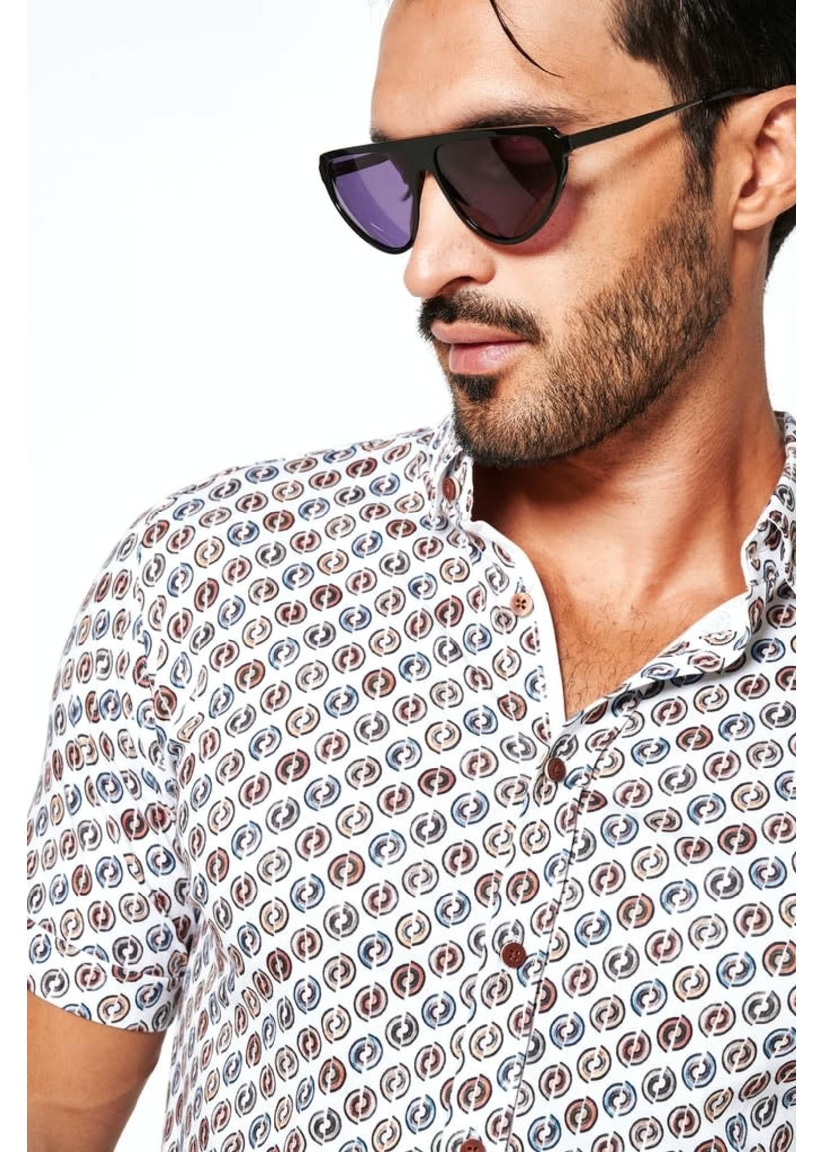 Desoto jersey korte mouw overhemd bruin print