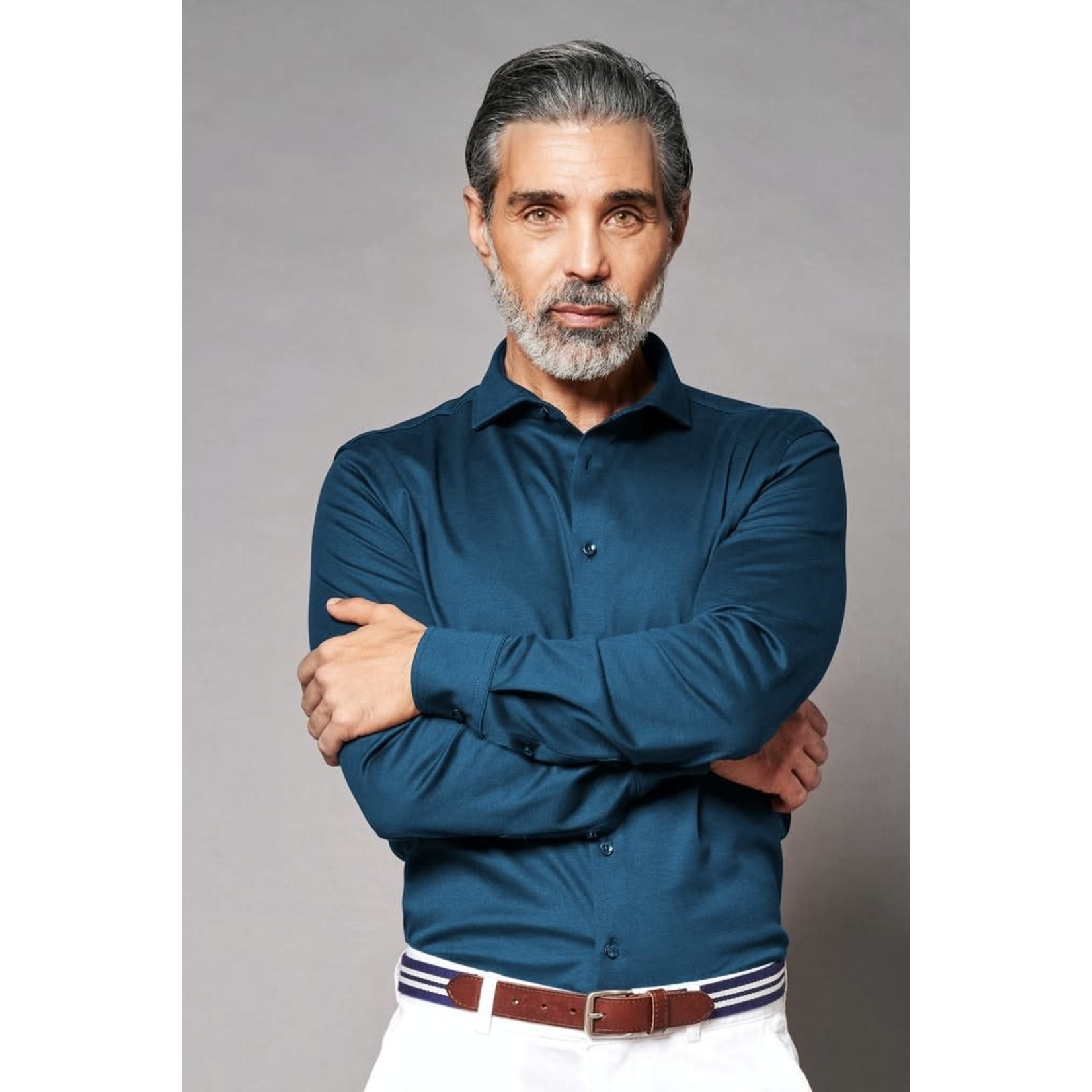 Desoto Luxury jersey overhemd indigo blauw