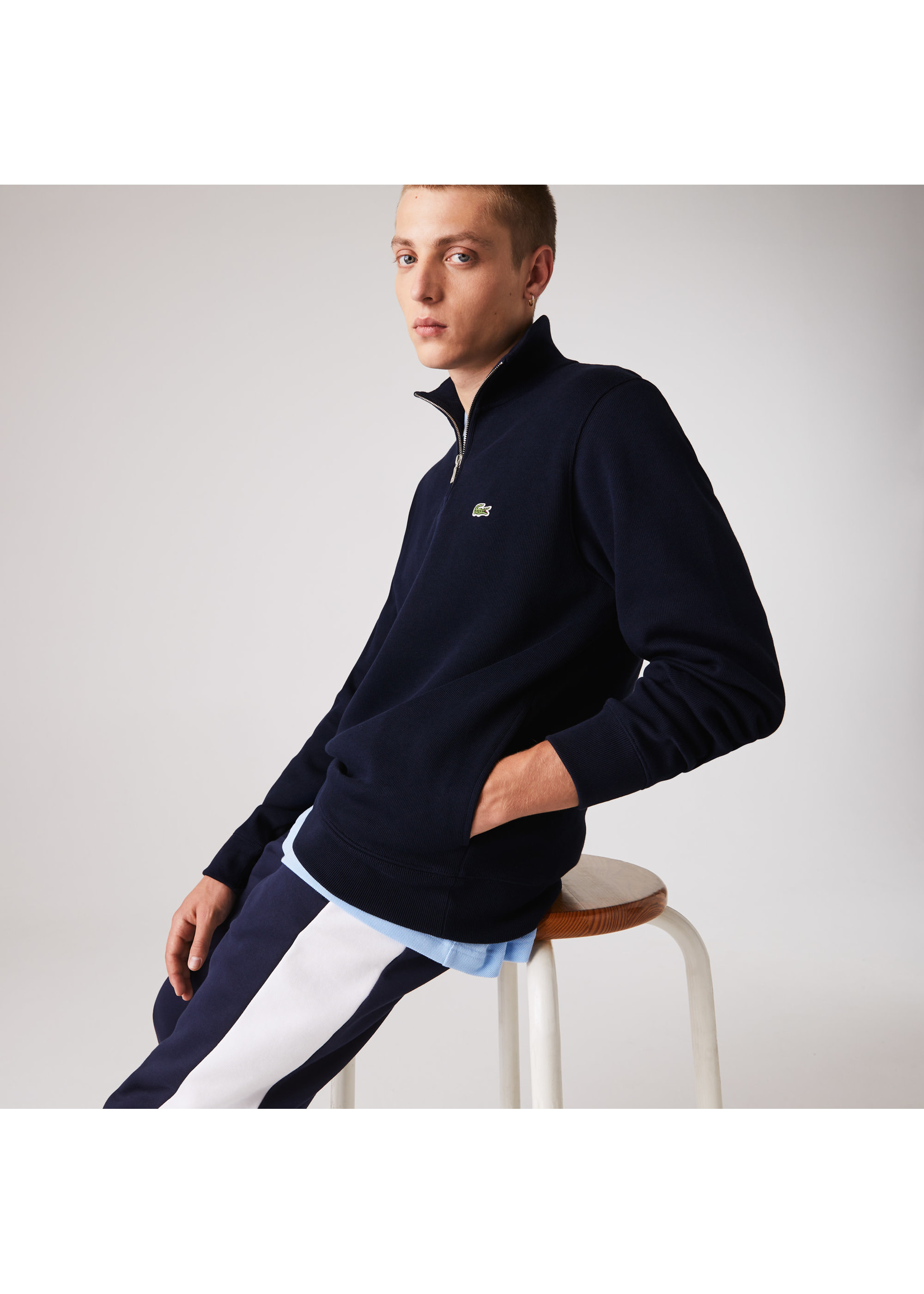 Lacoste sweater rits marine