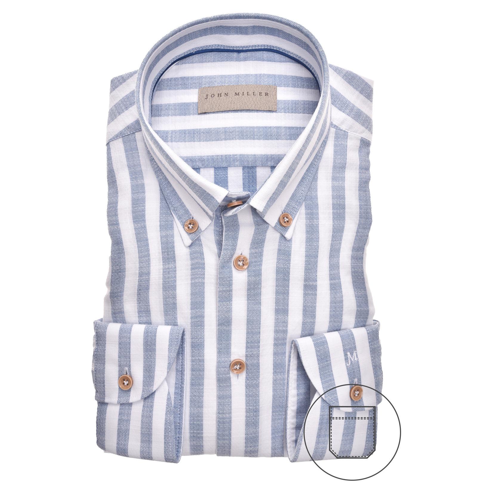 John Miller tailored fit overhemd bleu streep