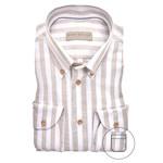 John Miller tailored fit overhemd beige streep