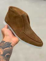 HON mid high top suede schoenen cognac