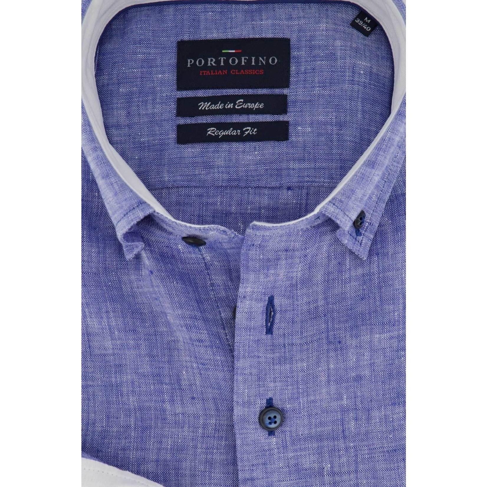 Portofino regular fit overhemd blauw linnen