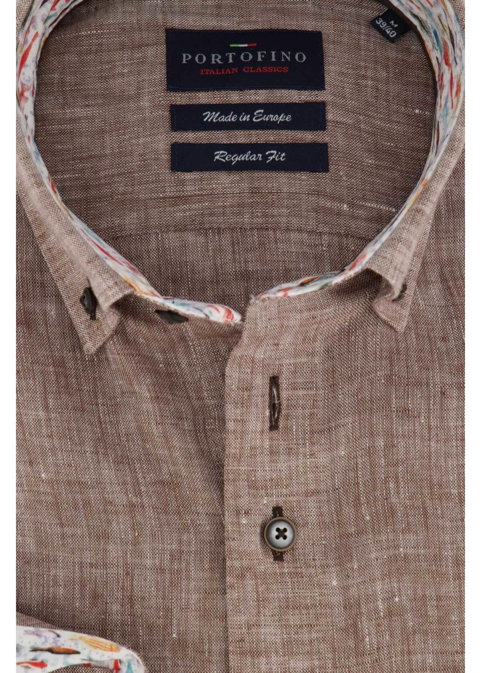 Portofino regular fit overhemd bruin linnen