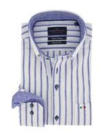 Portofino regular fit overhemd blauw gestreept