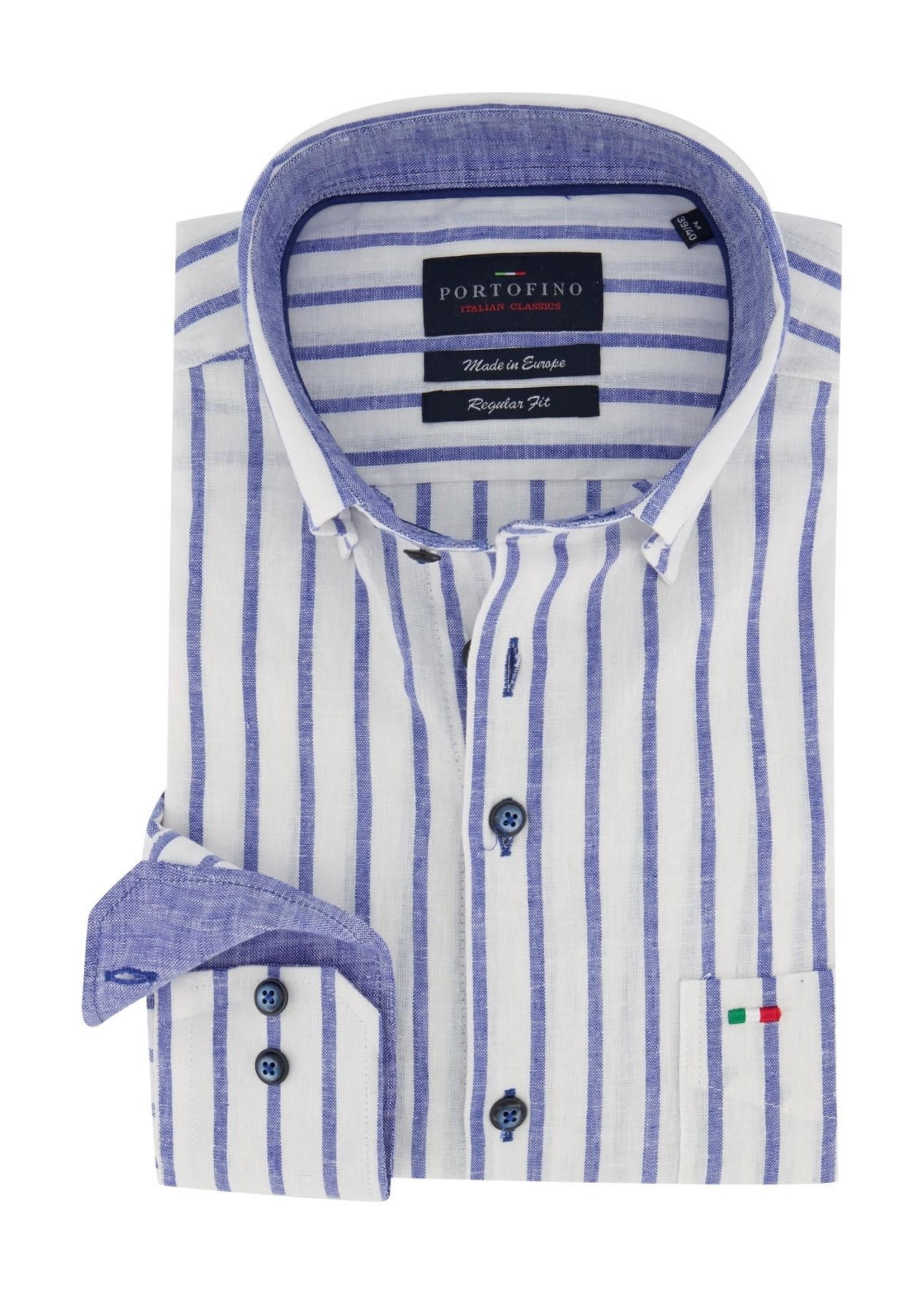 Portofino regular fit overhemd wit blauw gestreept