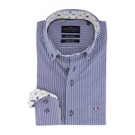 Portofino regular fit overhemd marine strepen