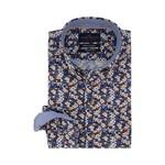 Portofino regular fit overhemd bruin blauw