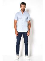 Desoto jersey korte mouw overhemd lichtblauw
