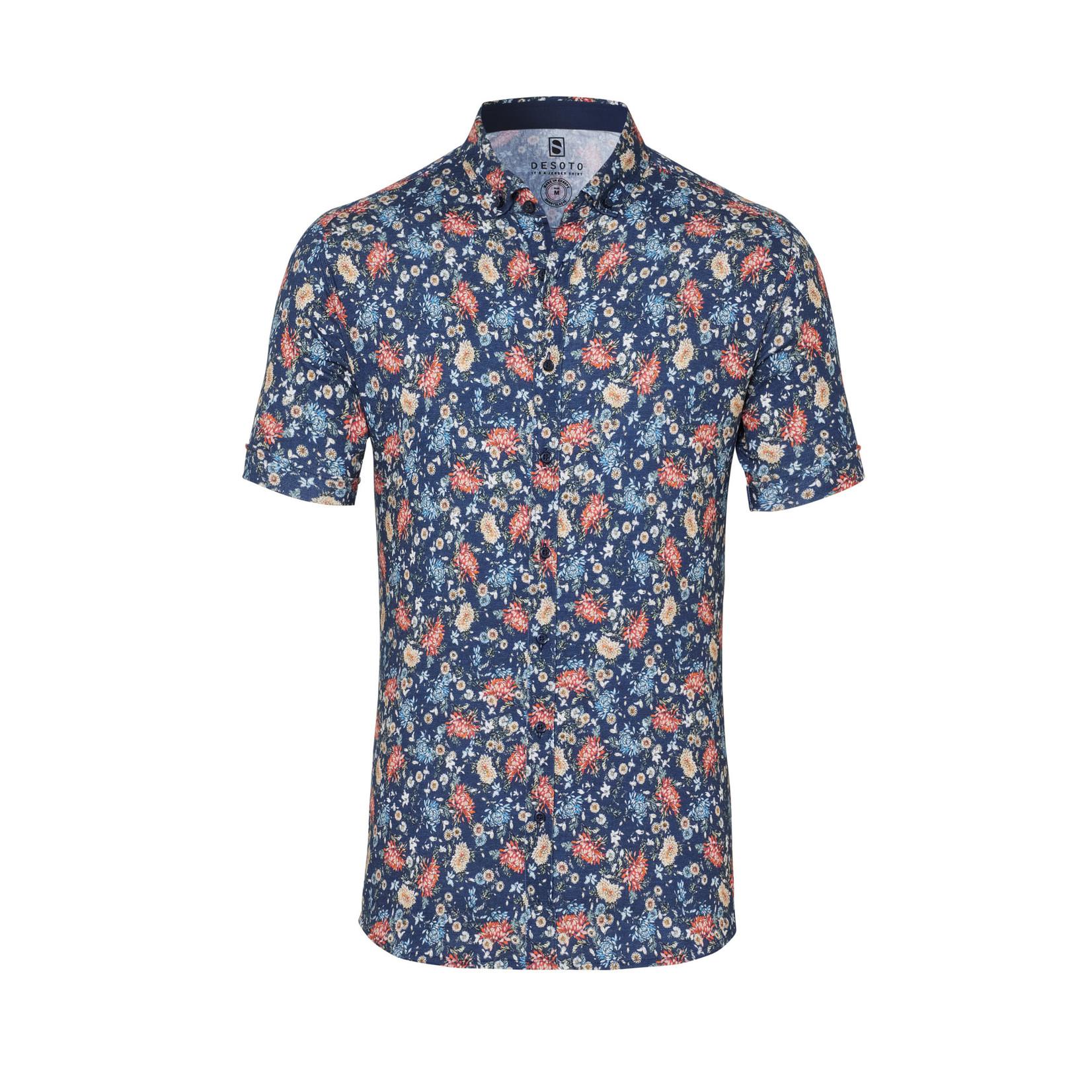 Desoto jersey korte mouw overhemd blauw print