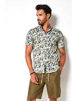 Desoto jersey korte mouw overhemd groen print