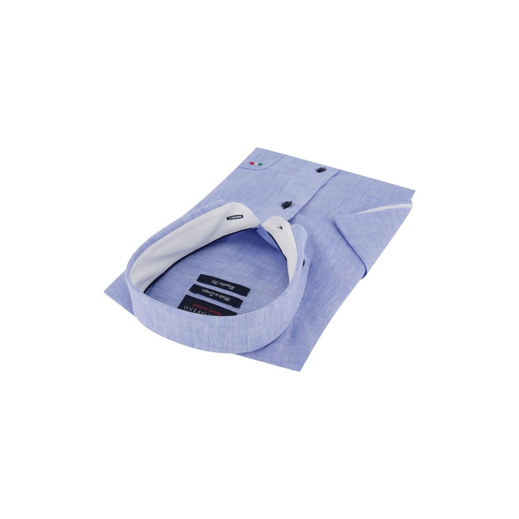 Portofino korte mouw overhemd regular fit blauw