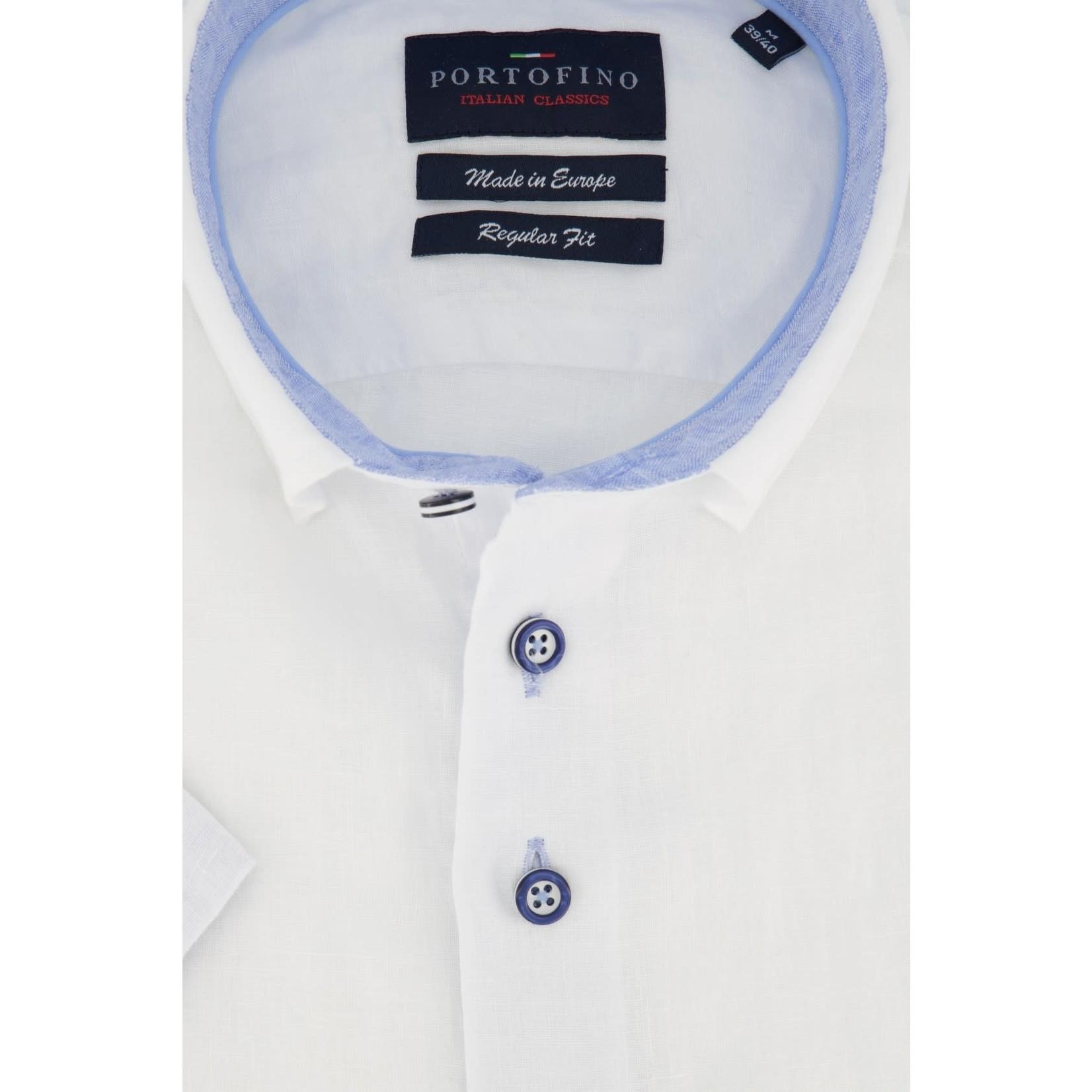 Portofino korte mouw overhemd regular fit wit