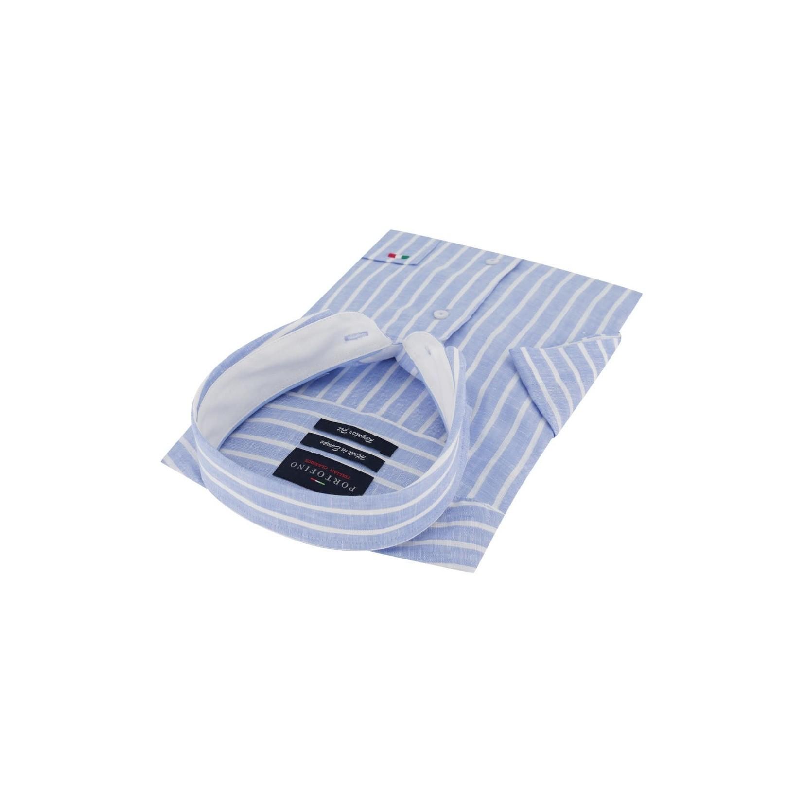 Portofino korte mouw overhemd regular fit streep