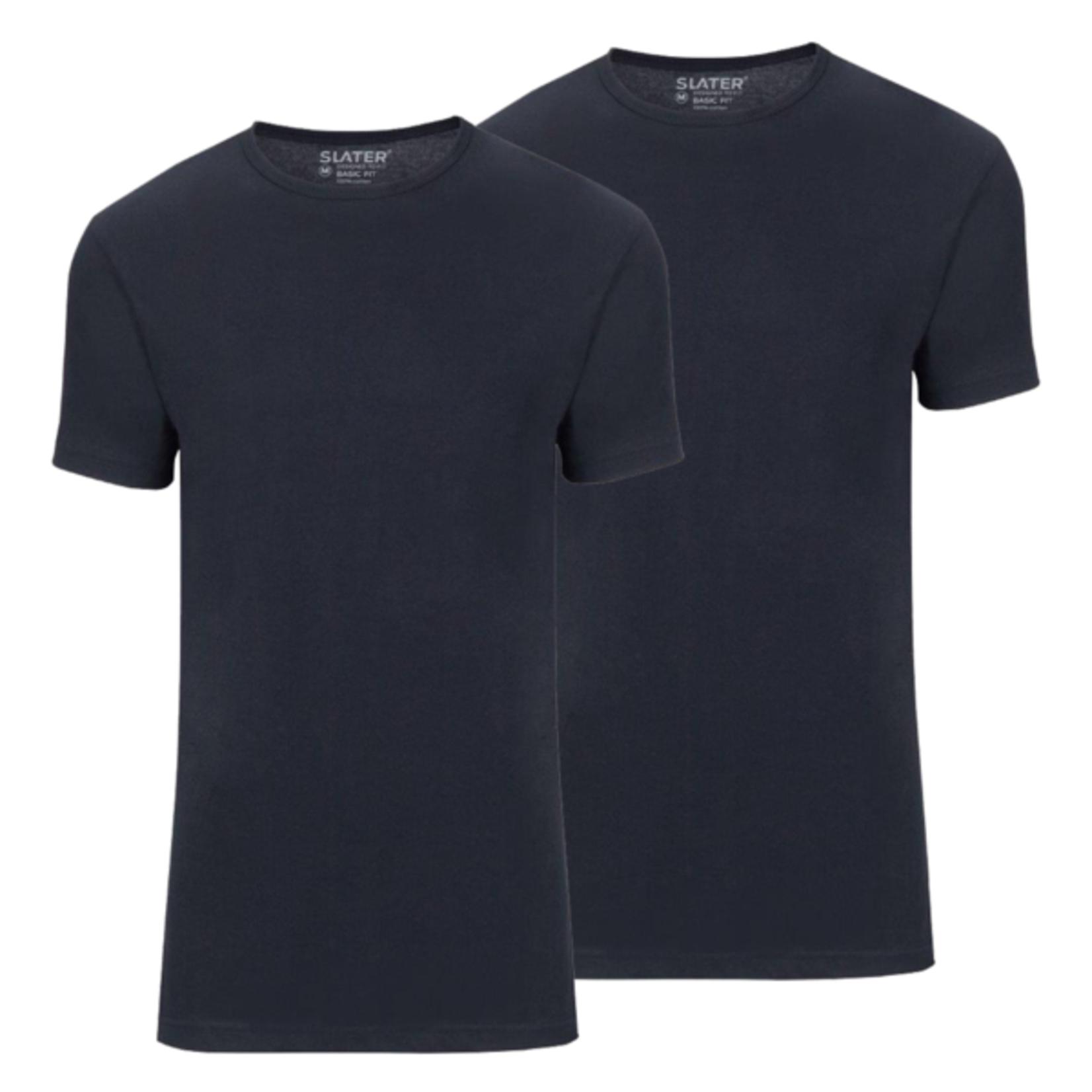 Slater Basic Fit 2-pack ronde hals t-shirt marine