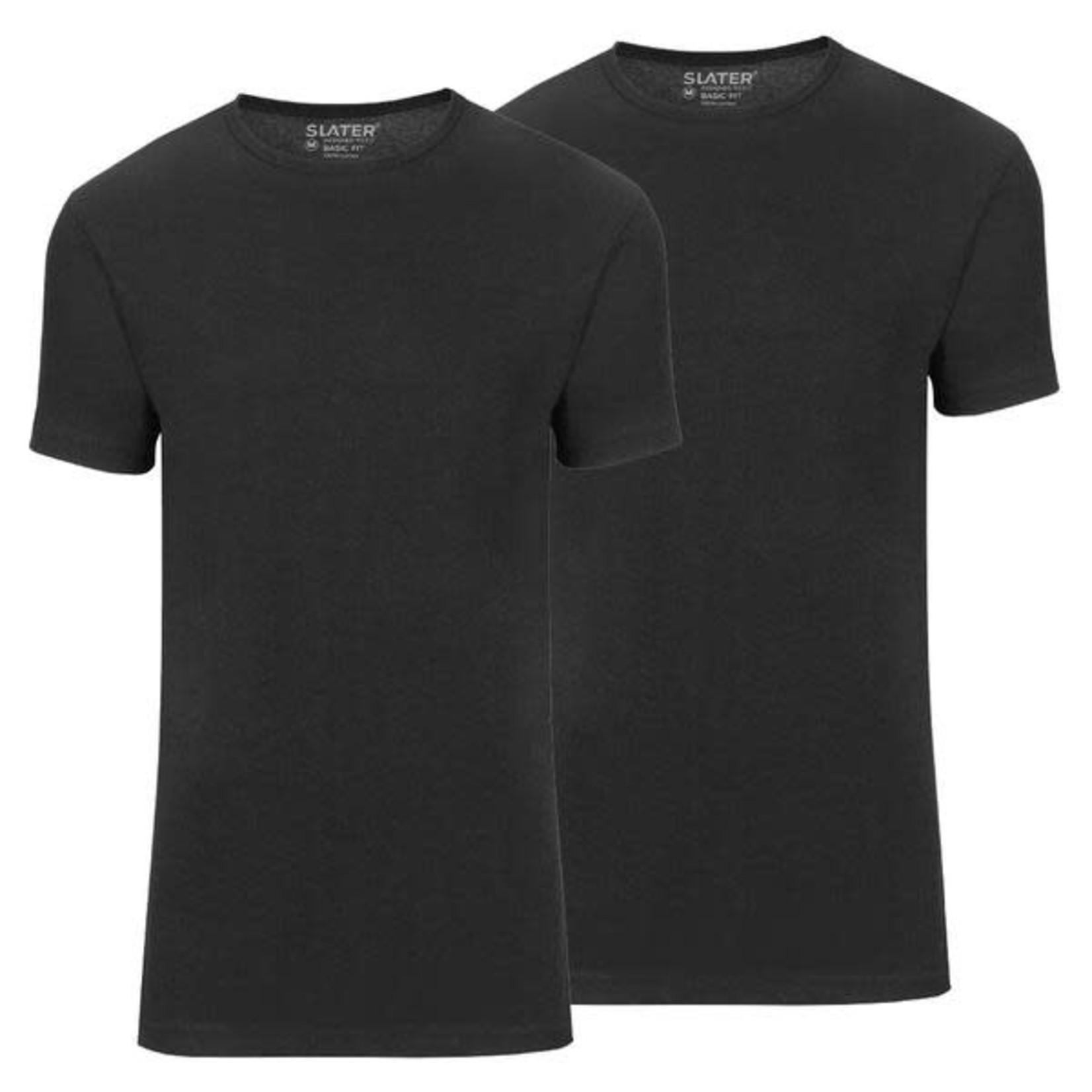 Slater Basic Fit 2-pack ronde hals t-shirt zwart