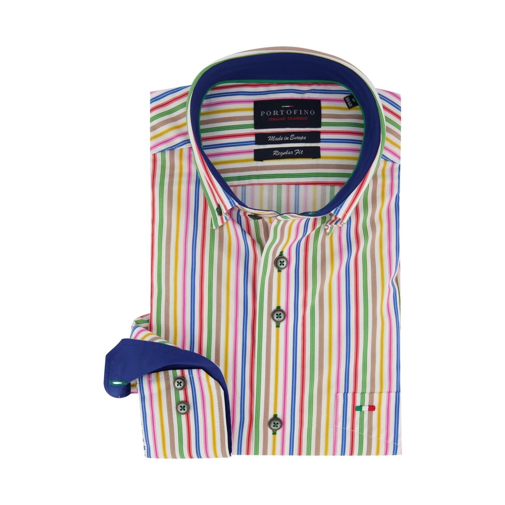 Portofino overhemd regular fit multi colour streep