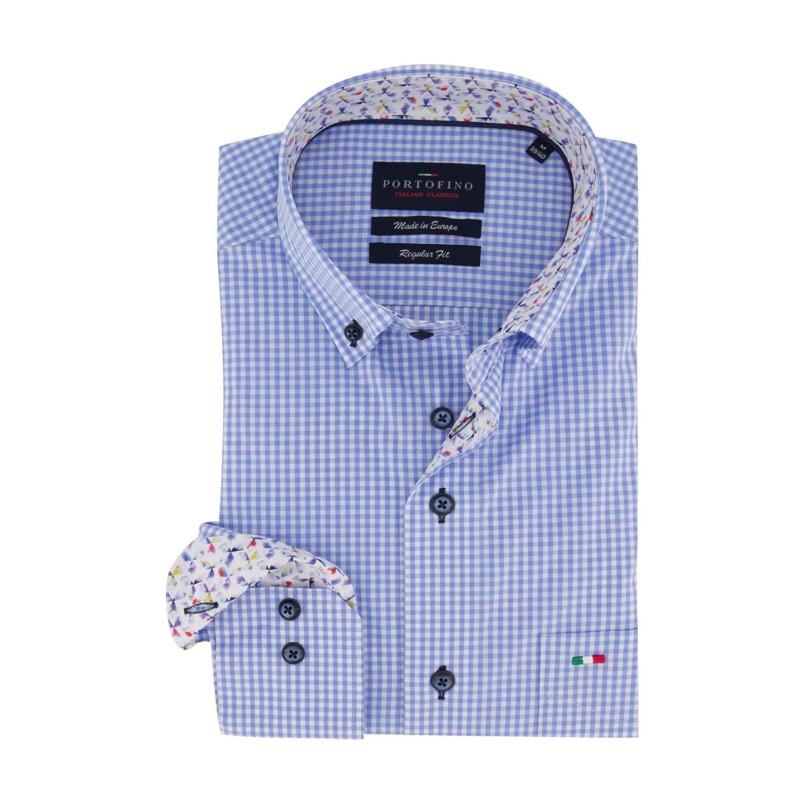 Portofino overhemd regular fit blauw ruitje