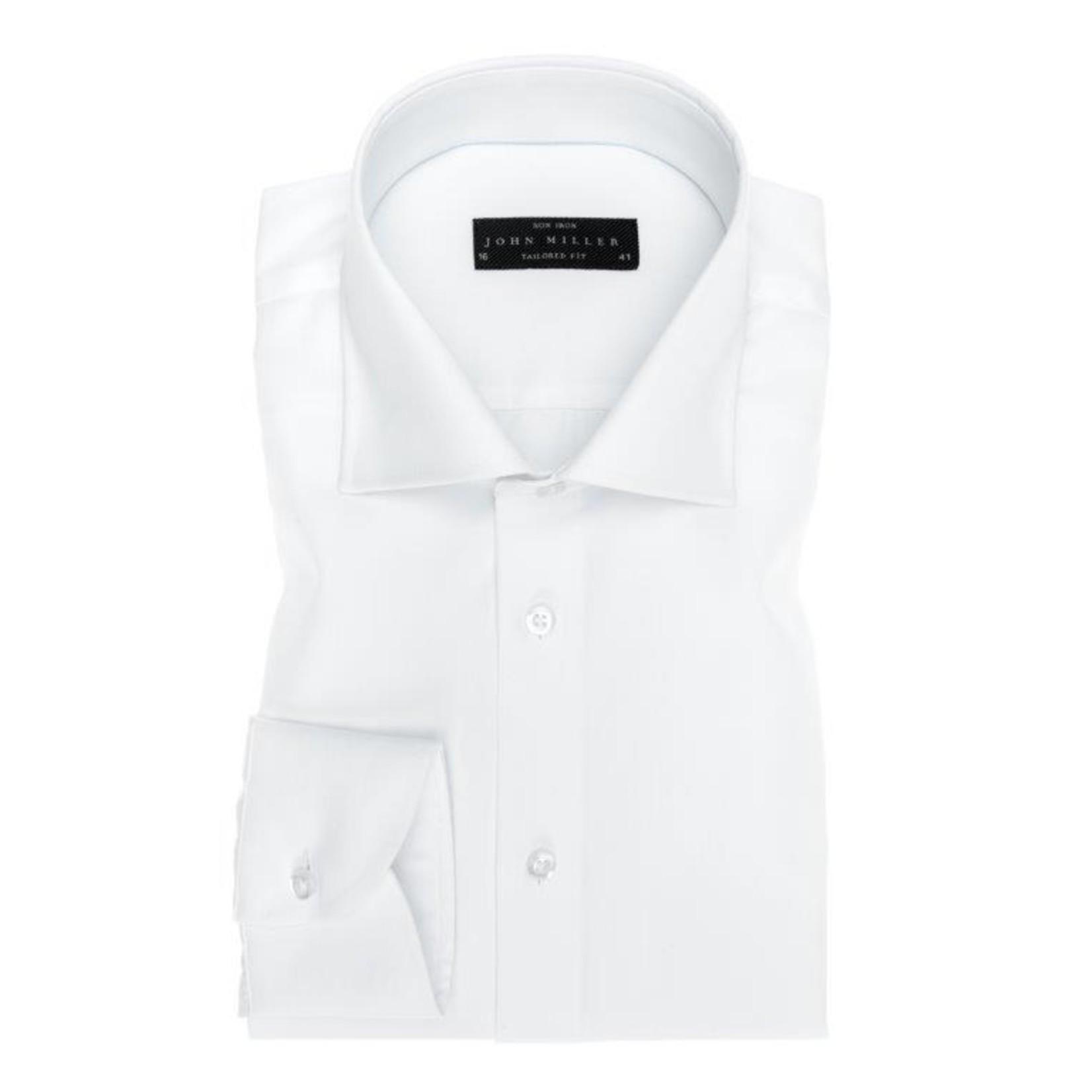 John Miller tailored fit overhemd wit met wide spread boord