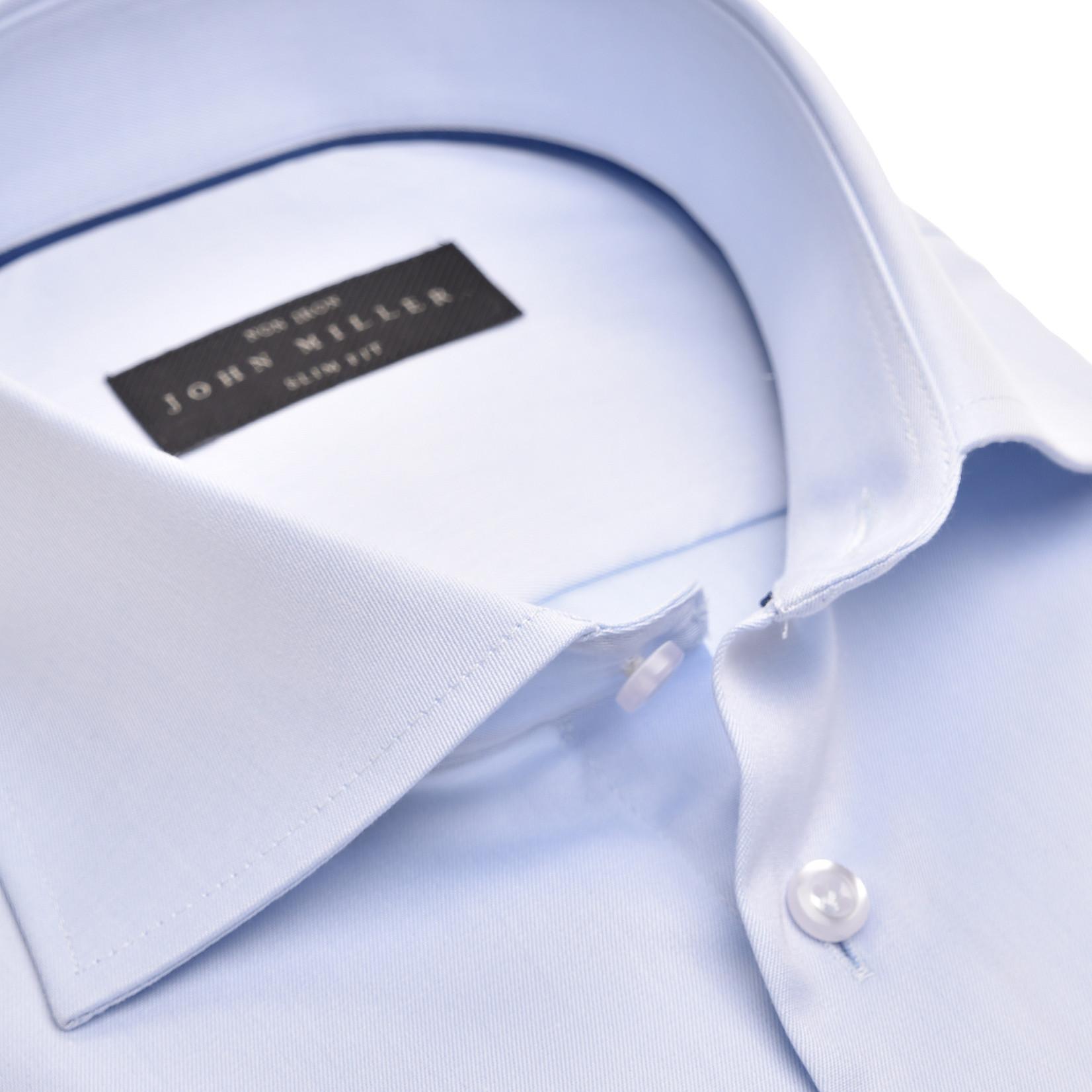 John Miller slim fit overhemd lichtblauw met wide spread boord