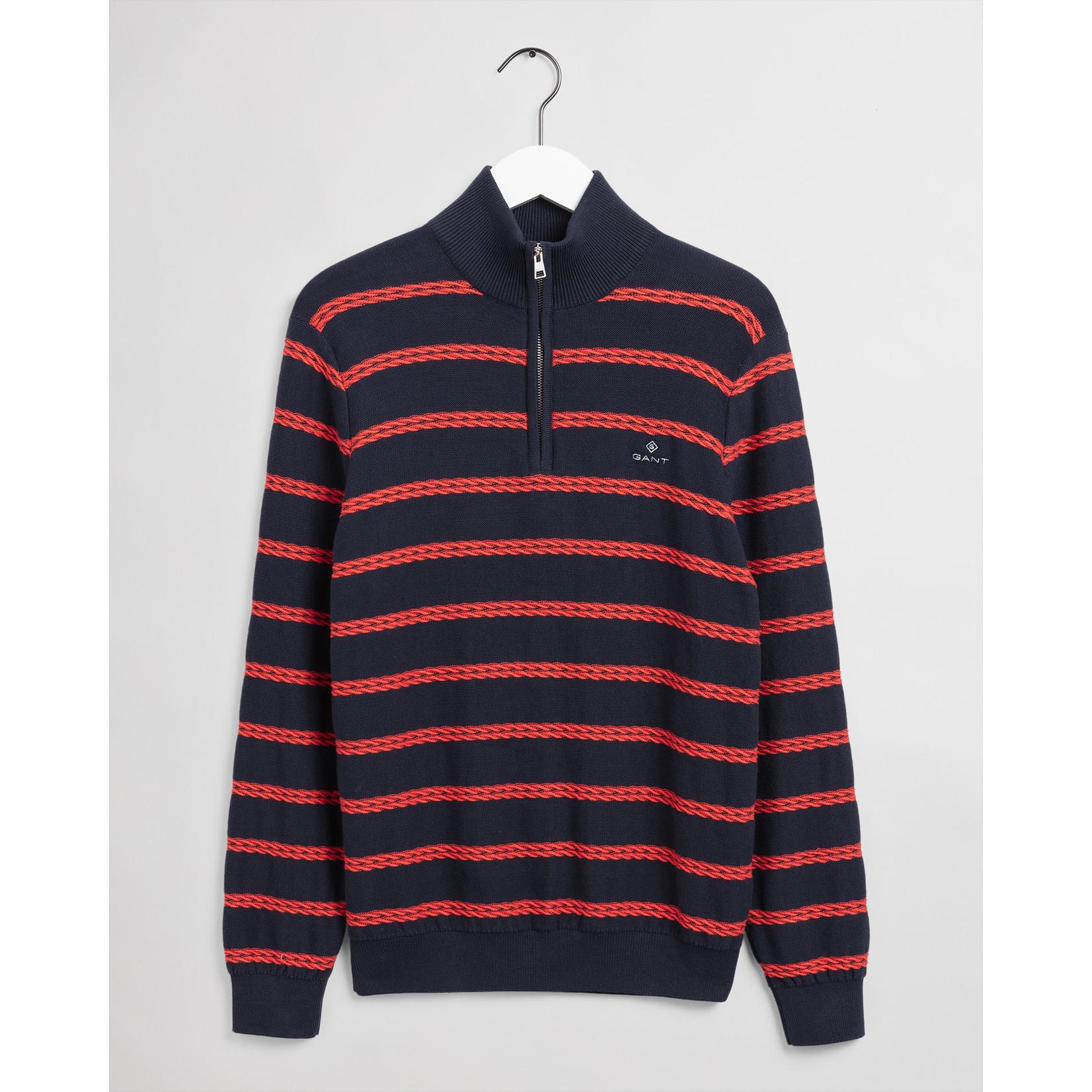 GANT sweater met korte rits en getextureerde Bretonse streep