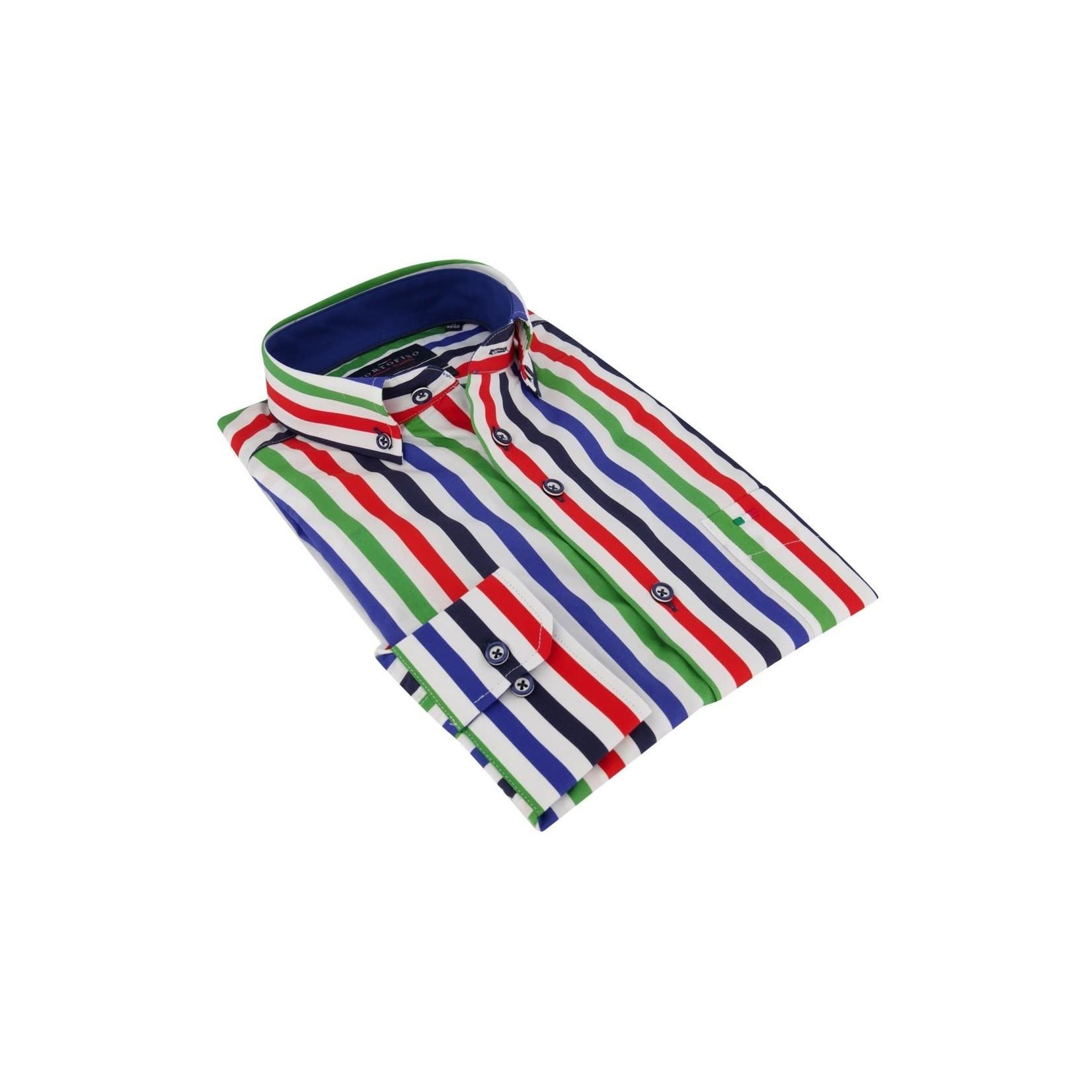 Portofino overhemd regular fit multi streep