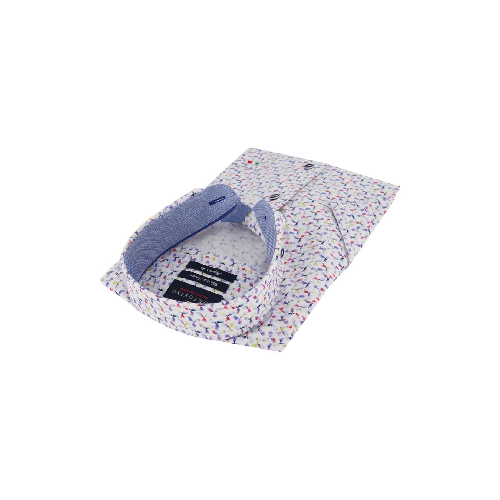 Portofino korte mouw overhemd regular fit multi print