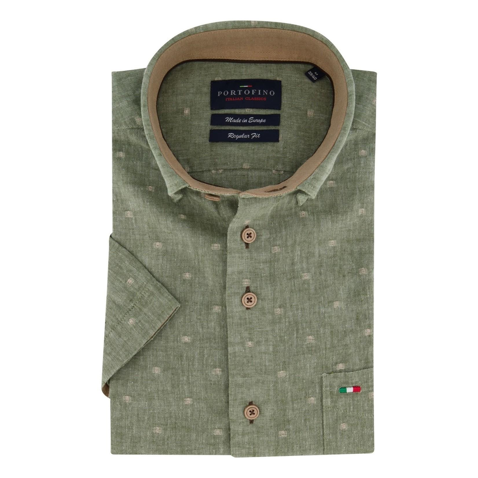 Portofino korte mouw overhemd regular fit groen