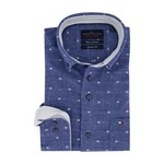 Portofino overhemd regular fit blauw stip