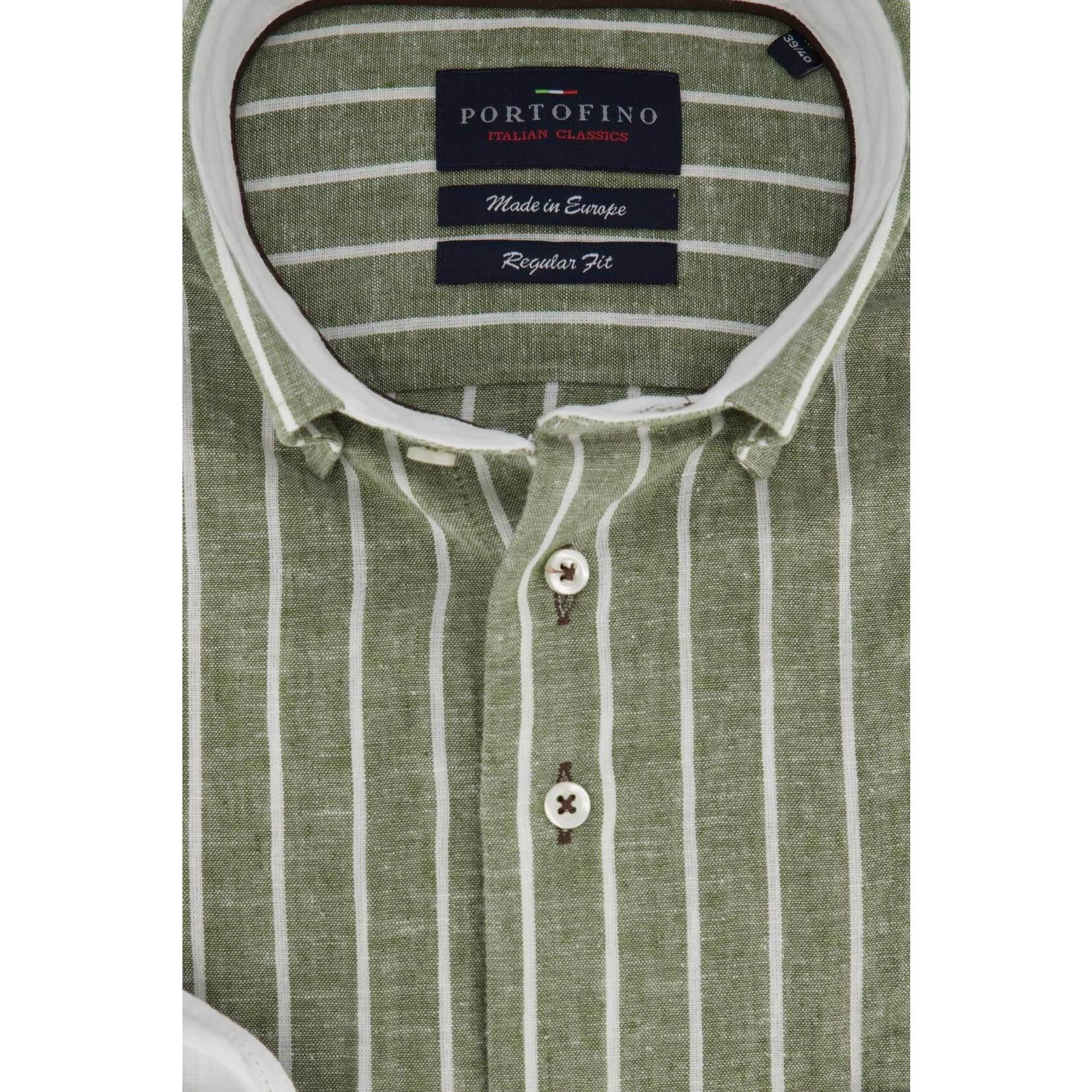 Portofino overhemd regular fit groen streep