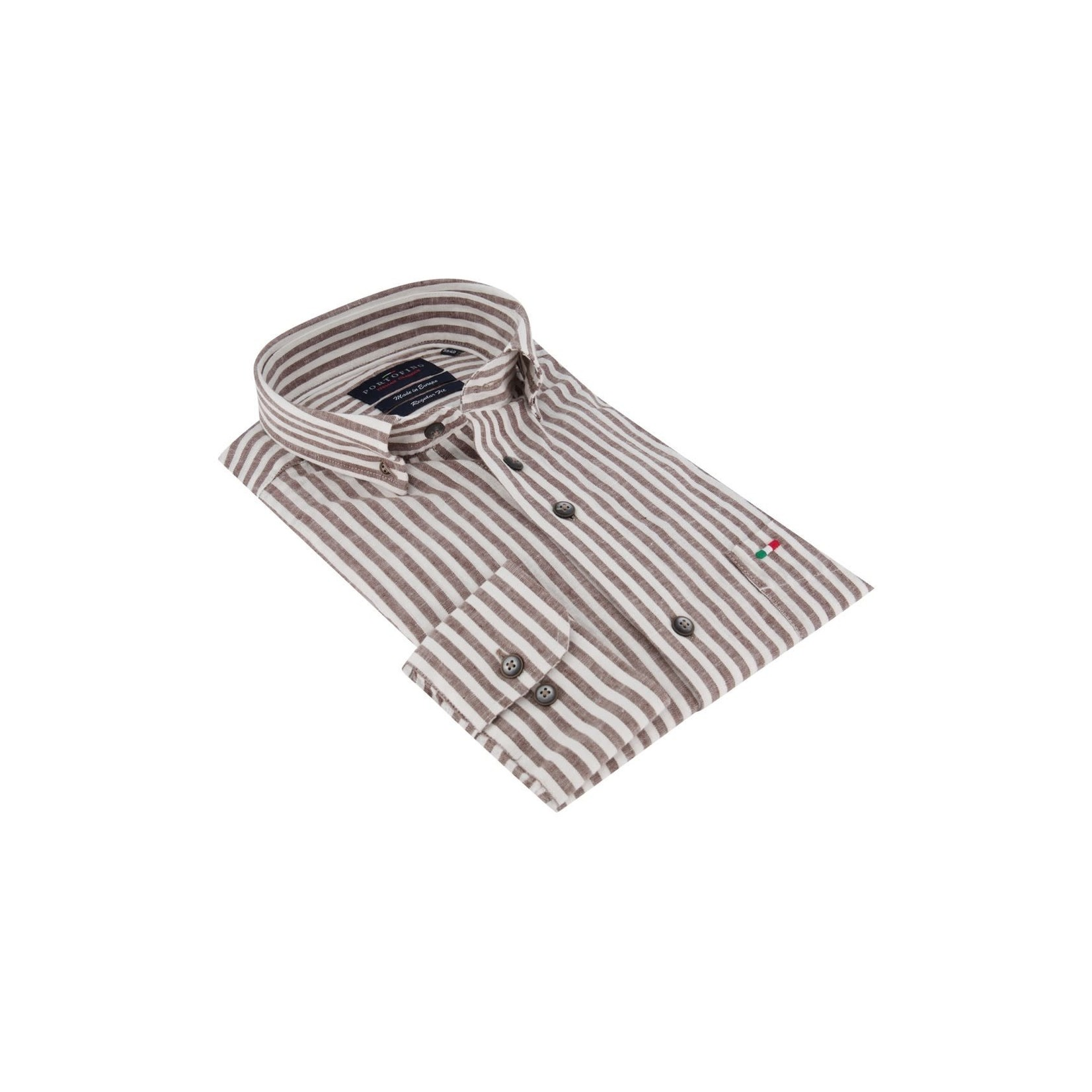 Portofino overhemd regular fit bruin streep