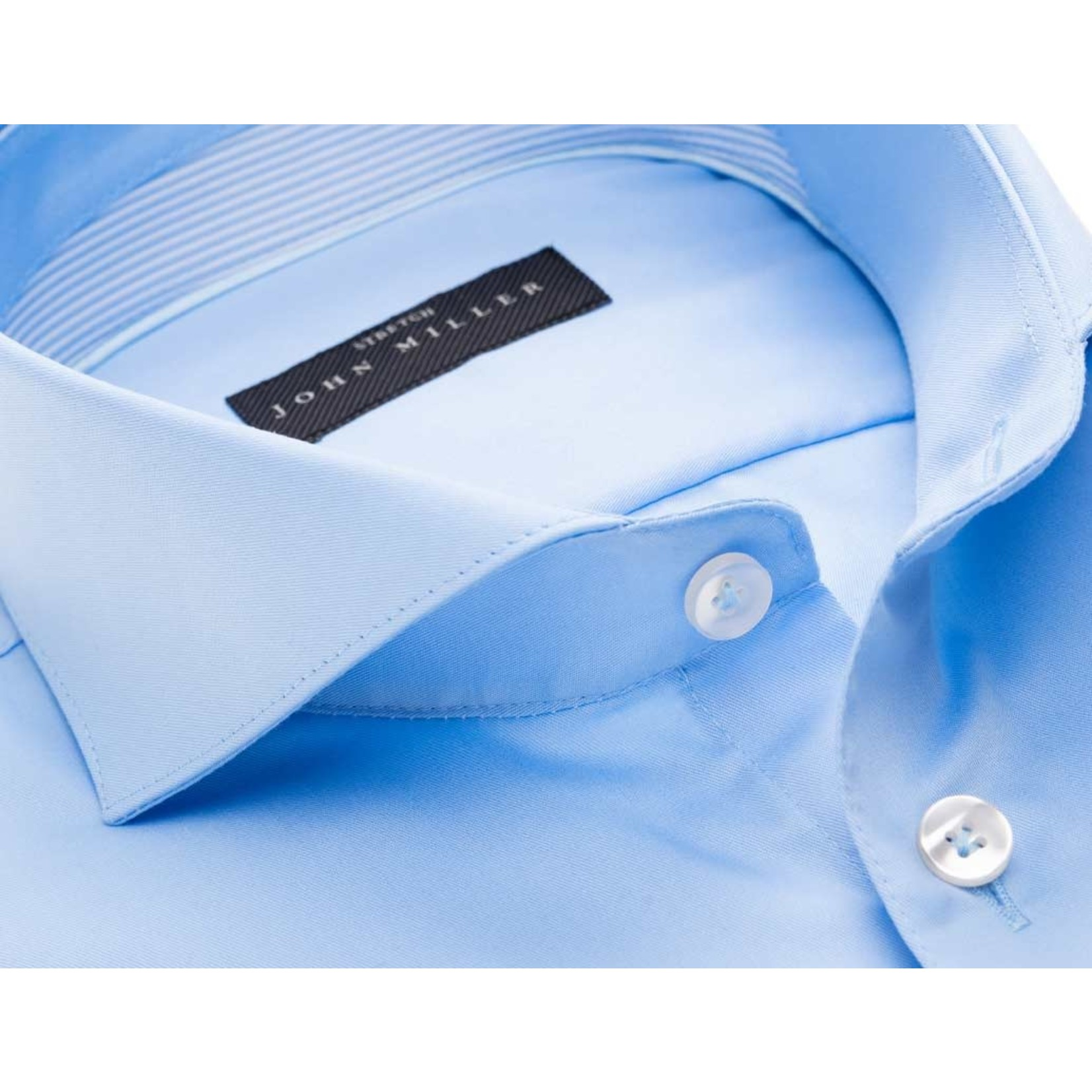 John Miller tailored fit overhemd blauw met cut away boord