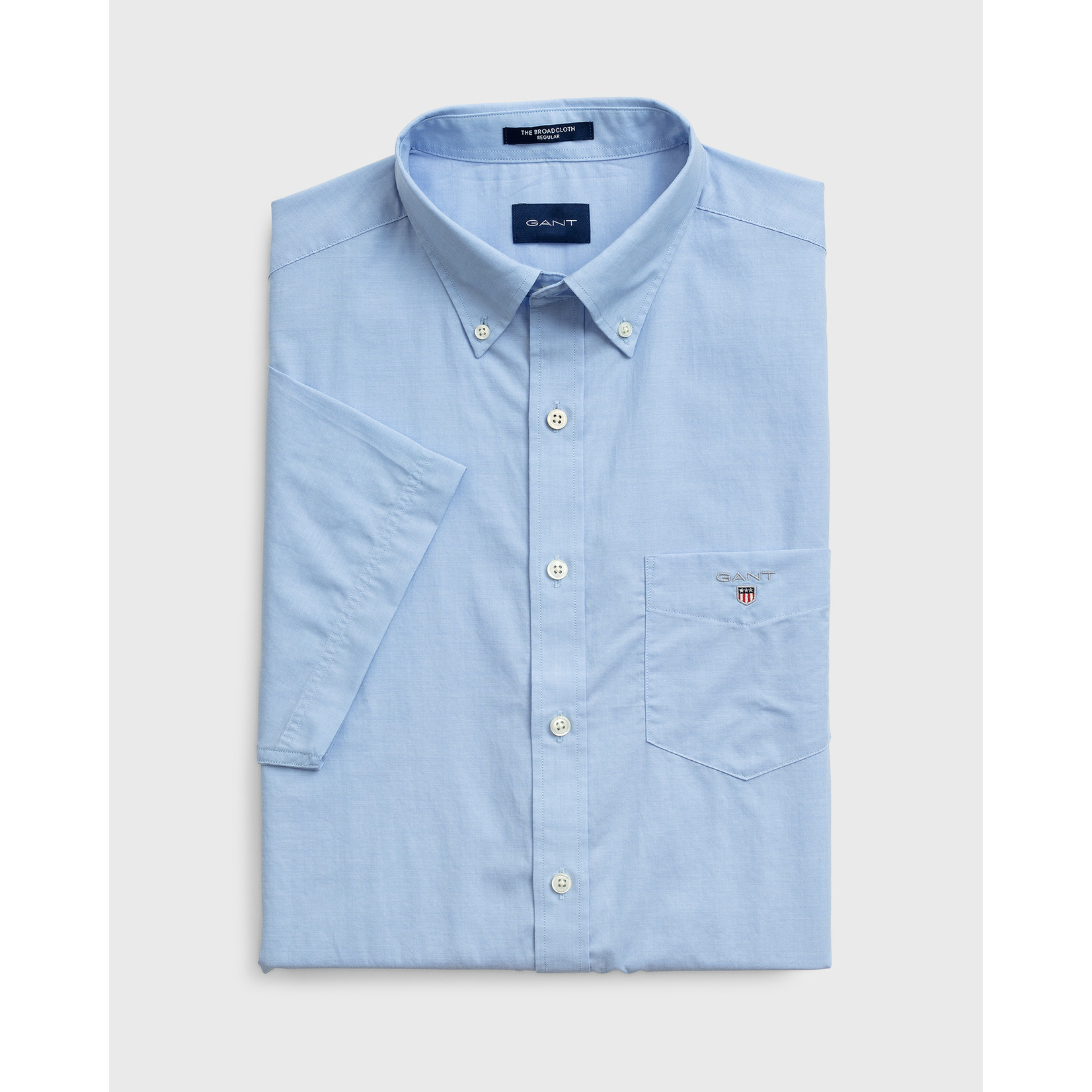 GANT regular fit overhemd korte mouw lichtblauw