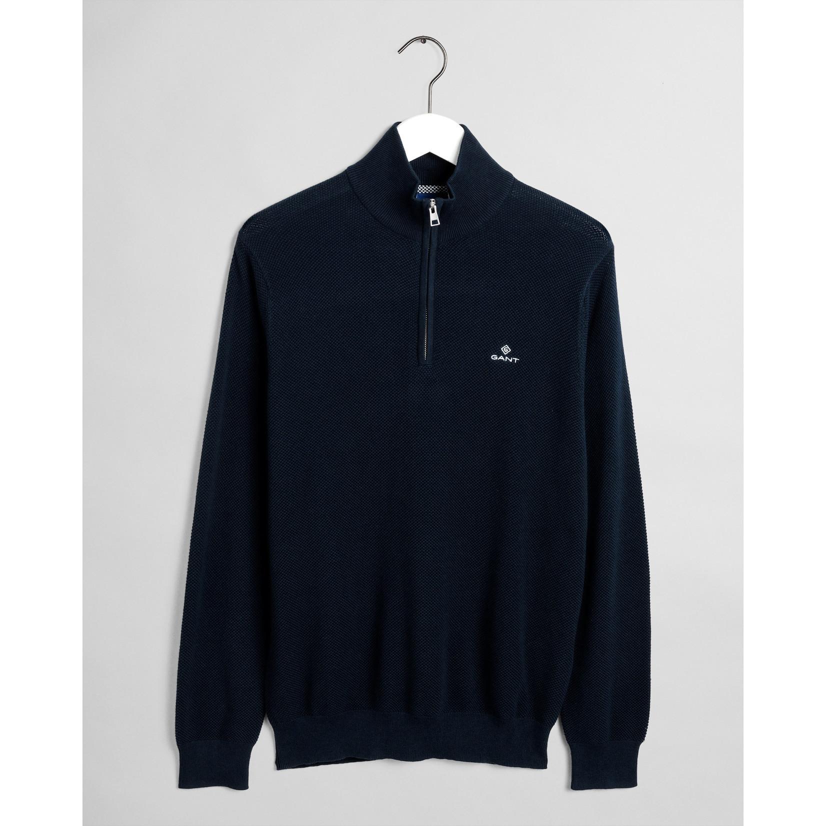 GANT sweater met korte rits marine
