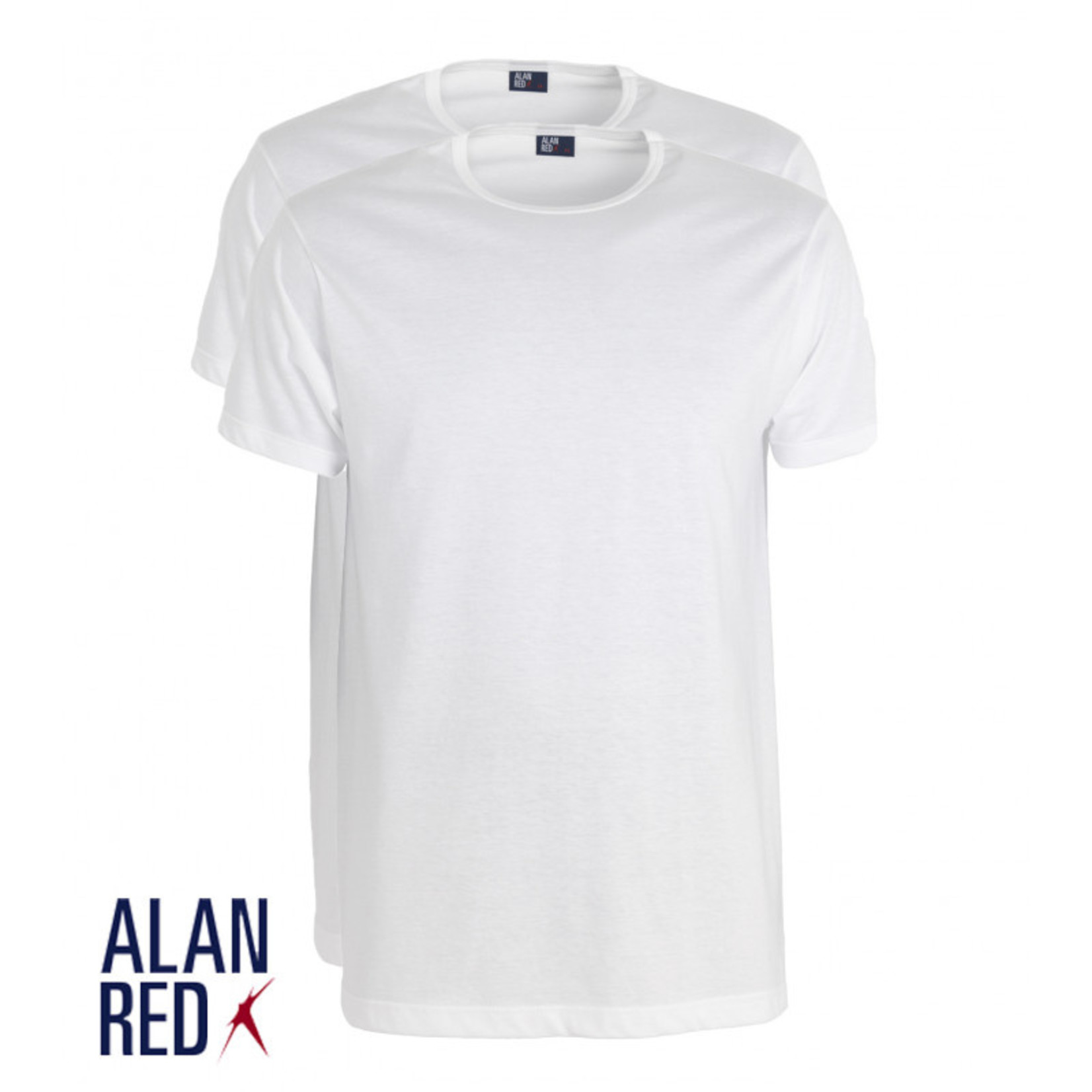 Alan Red Derby 2-pack smalle ronde hals t-shirt wit