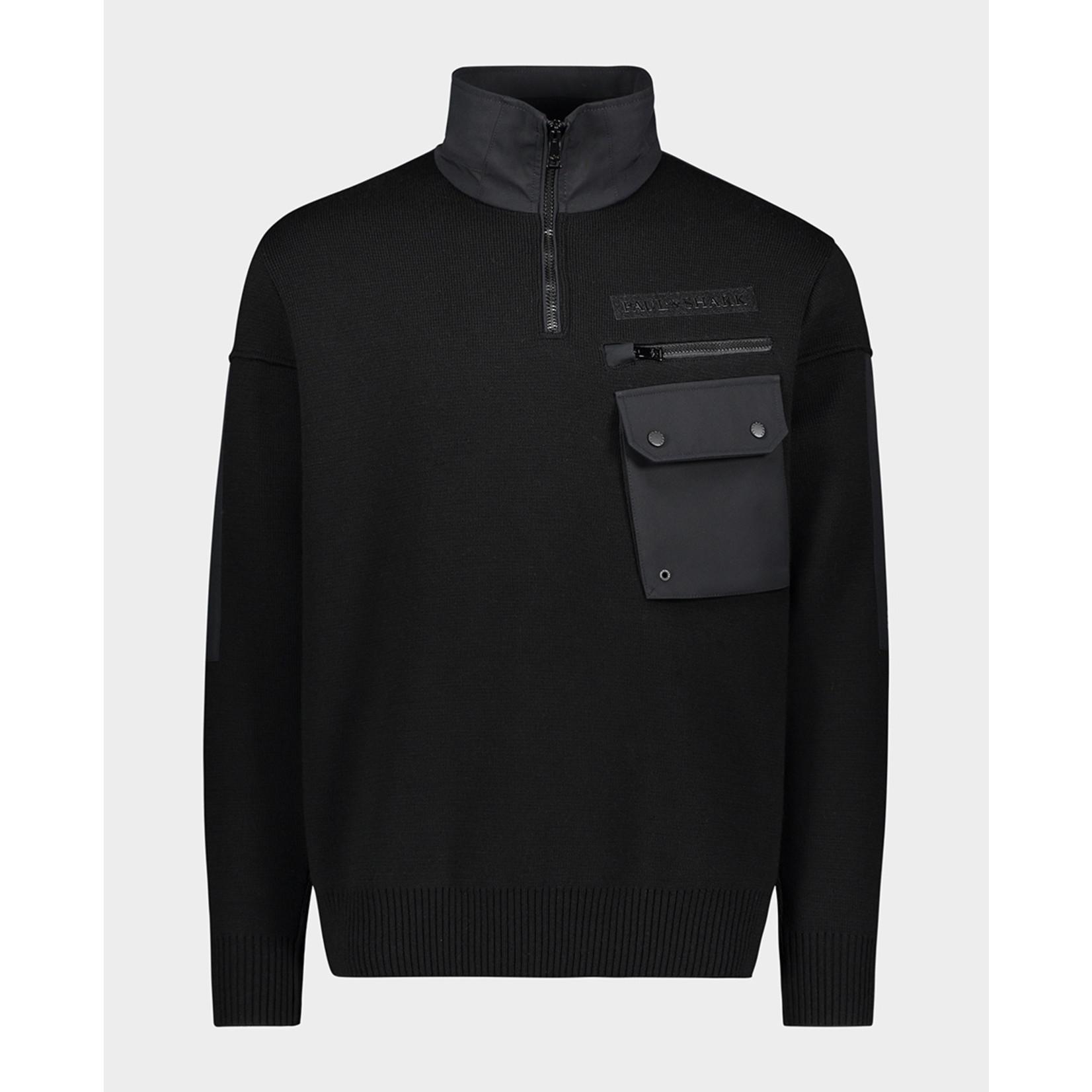 Paul & Shark trui met rits zwart