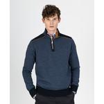 Paul & Shark trui met rits blauw met okergele details