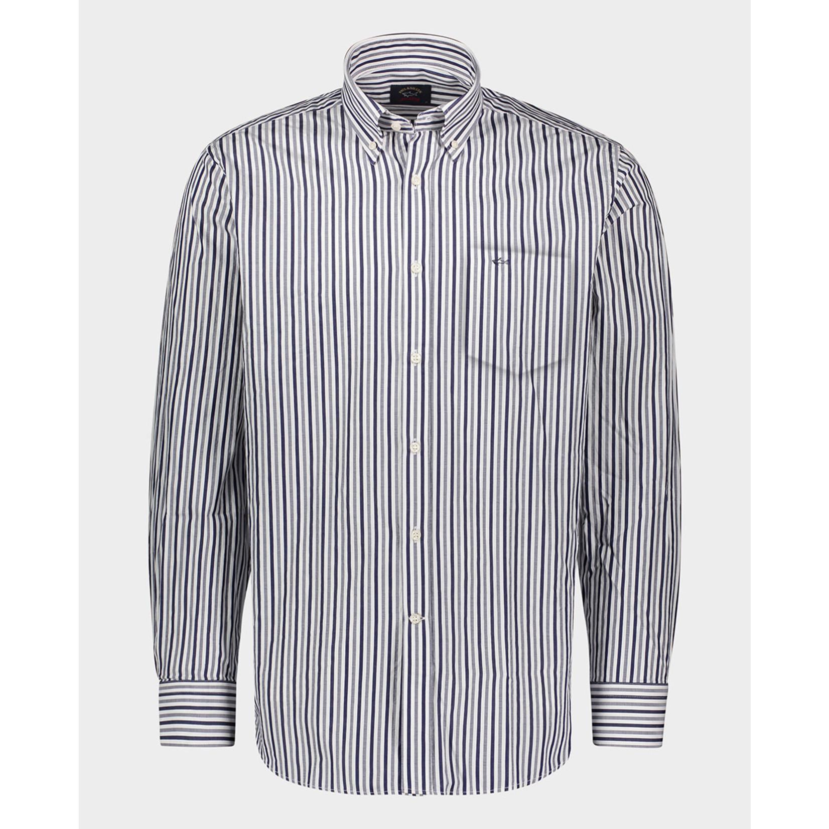 Paul & Shark regular fit overhemd grijs streep