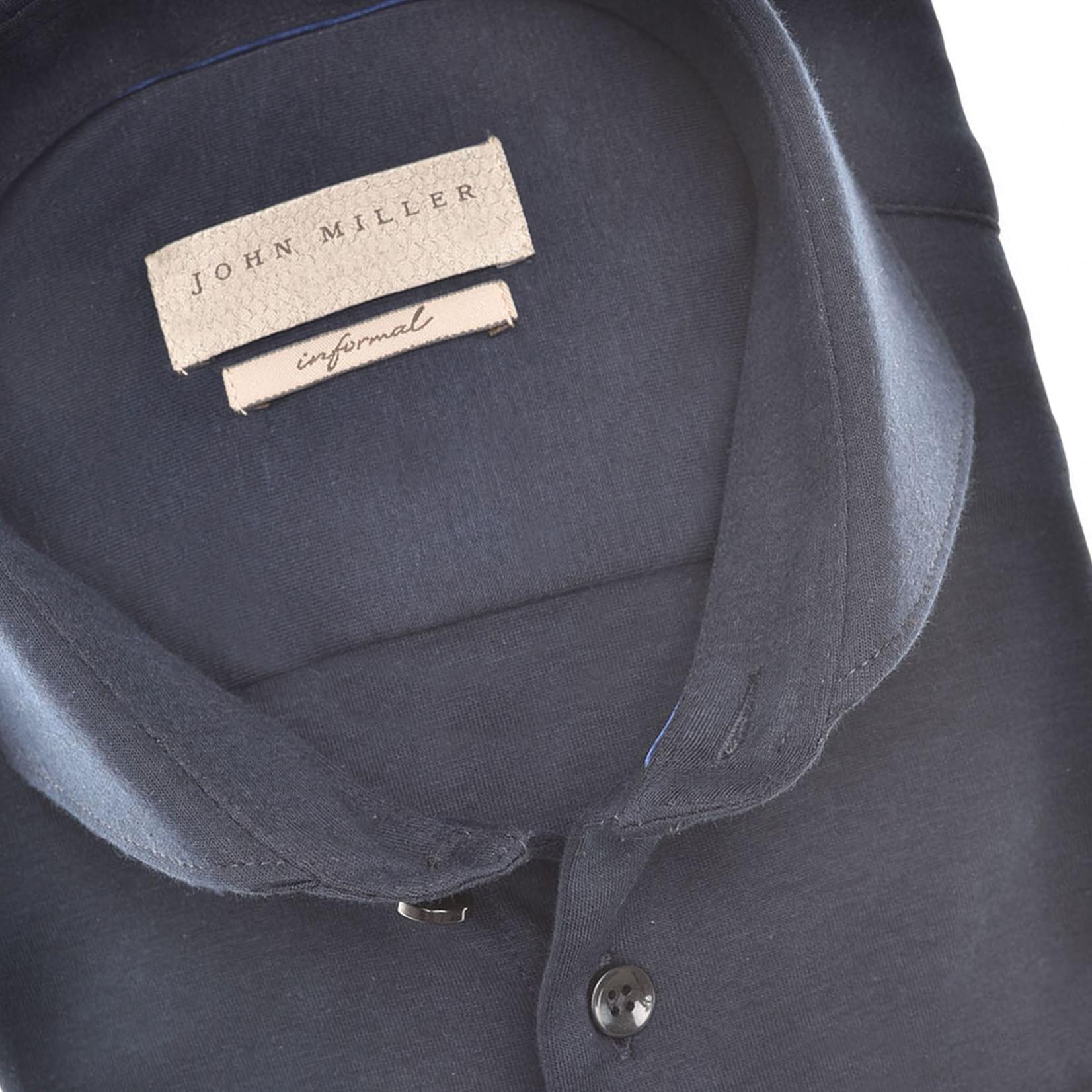 John Miller slim fit tricot overhemd marine