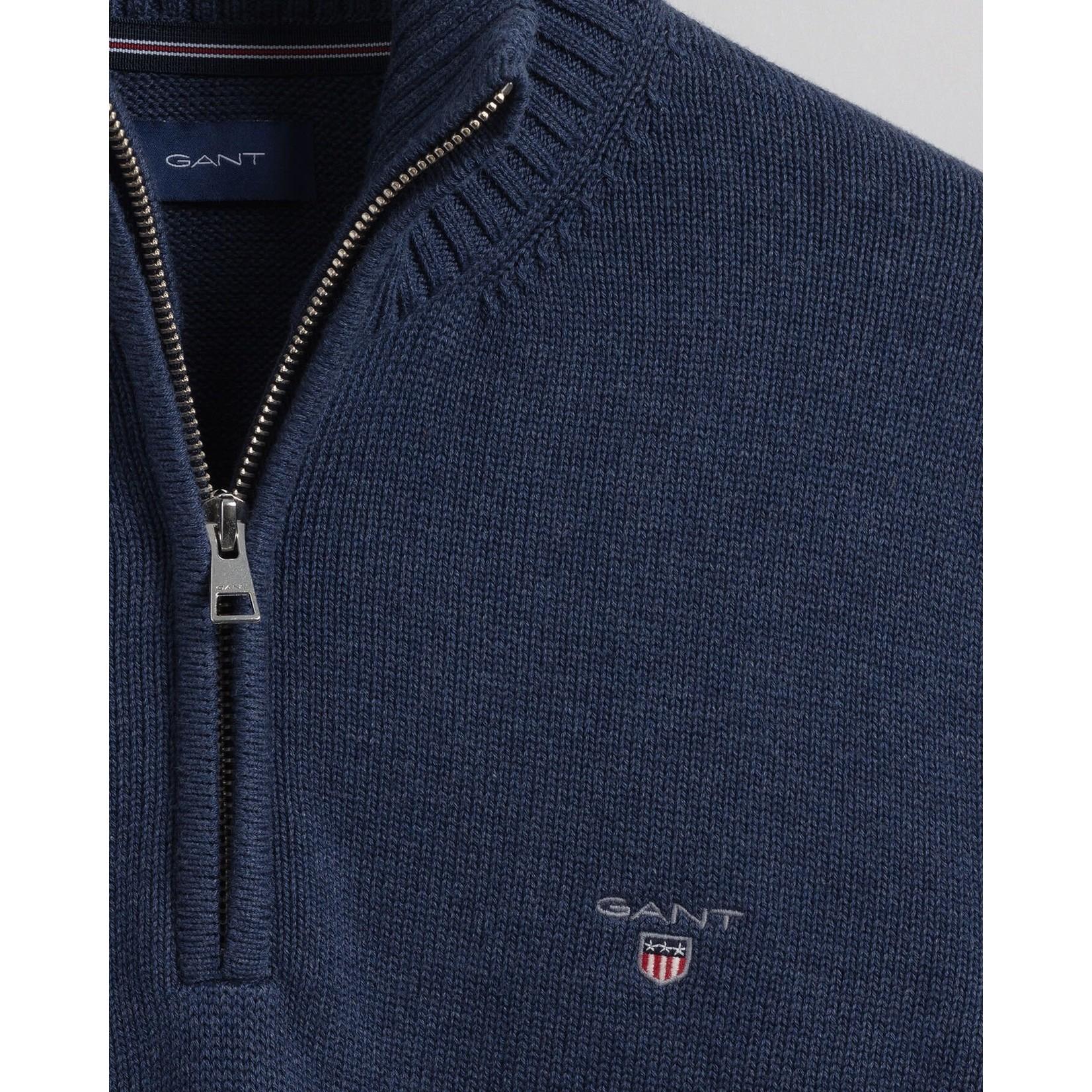 GANT katoenen trui met korte rits jeansblauw